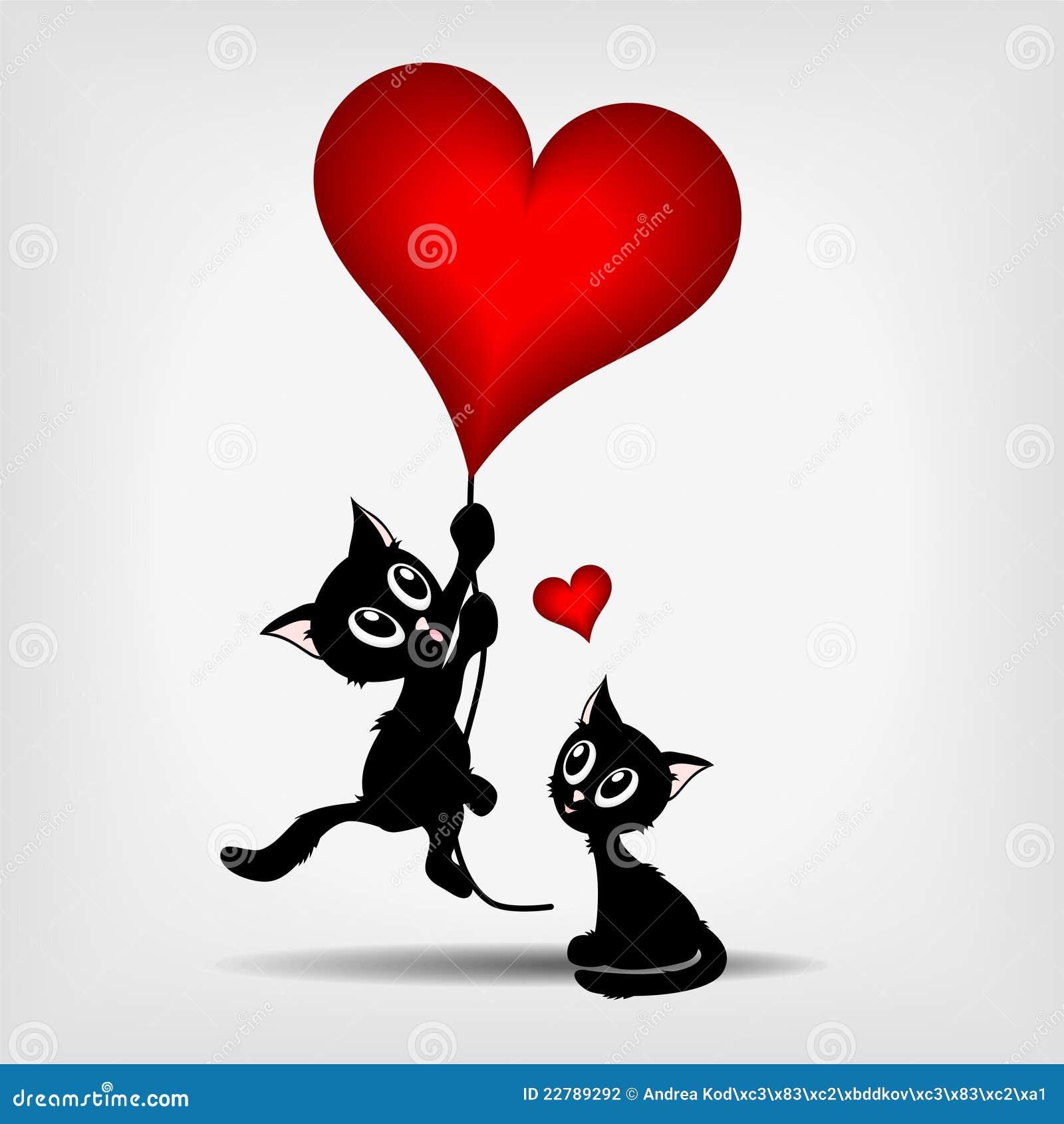 μαύρο κόκκινο δύο γατακιών καρδιών μπαλονιών