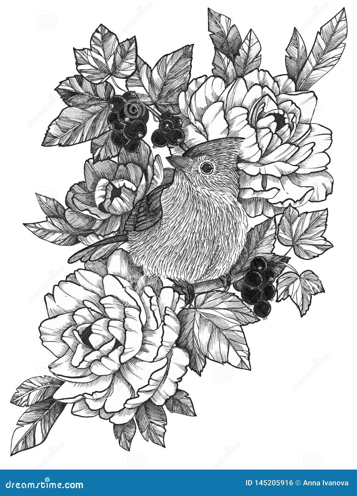 Μαύρο λεπτομερές μελάνι πουλί δερματοστιξιών στη Floral σύνθεση