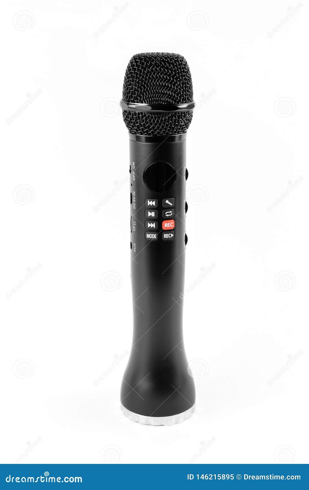 Μαύρο μικρόφωνο καραόκε με τους ενσωματωμένους ομιλητές