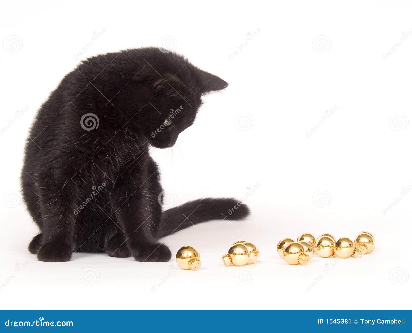 μαύρο παιχνίδι διακοσμήσεων Χριστουγέννων γατών
