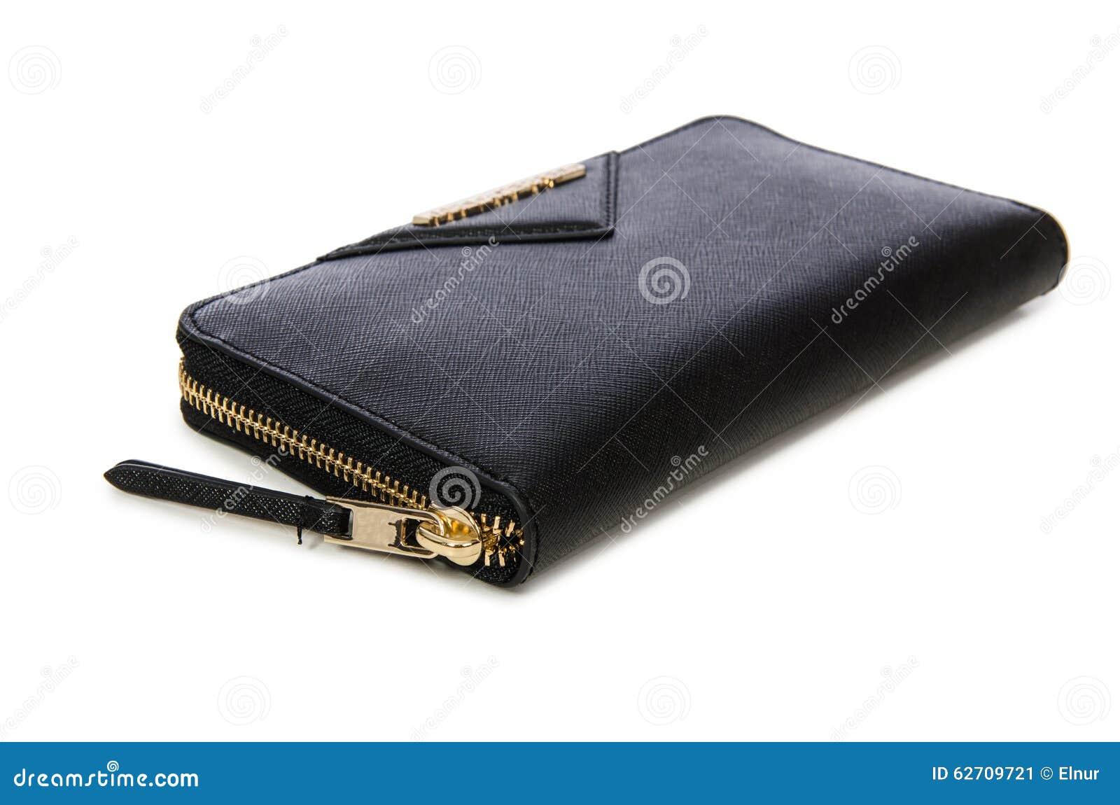 Μαύρο πορτοφόλι που απομονώνεται στο λευκό