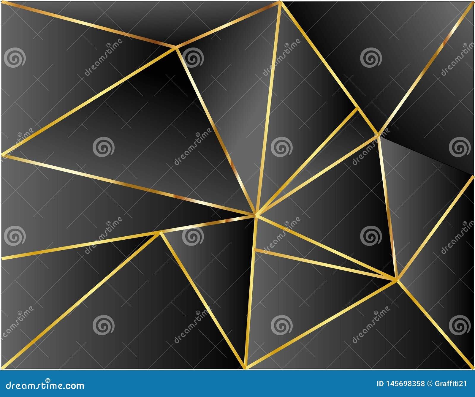 Μαύρο υποβάθρου σχέδιο απεικόνισης διάστασης χρυσό διανυσματικό σύγχρονο