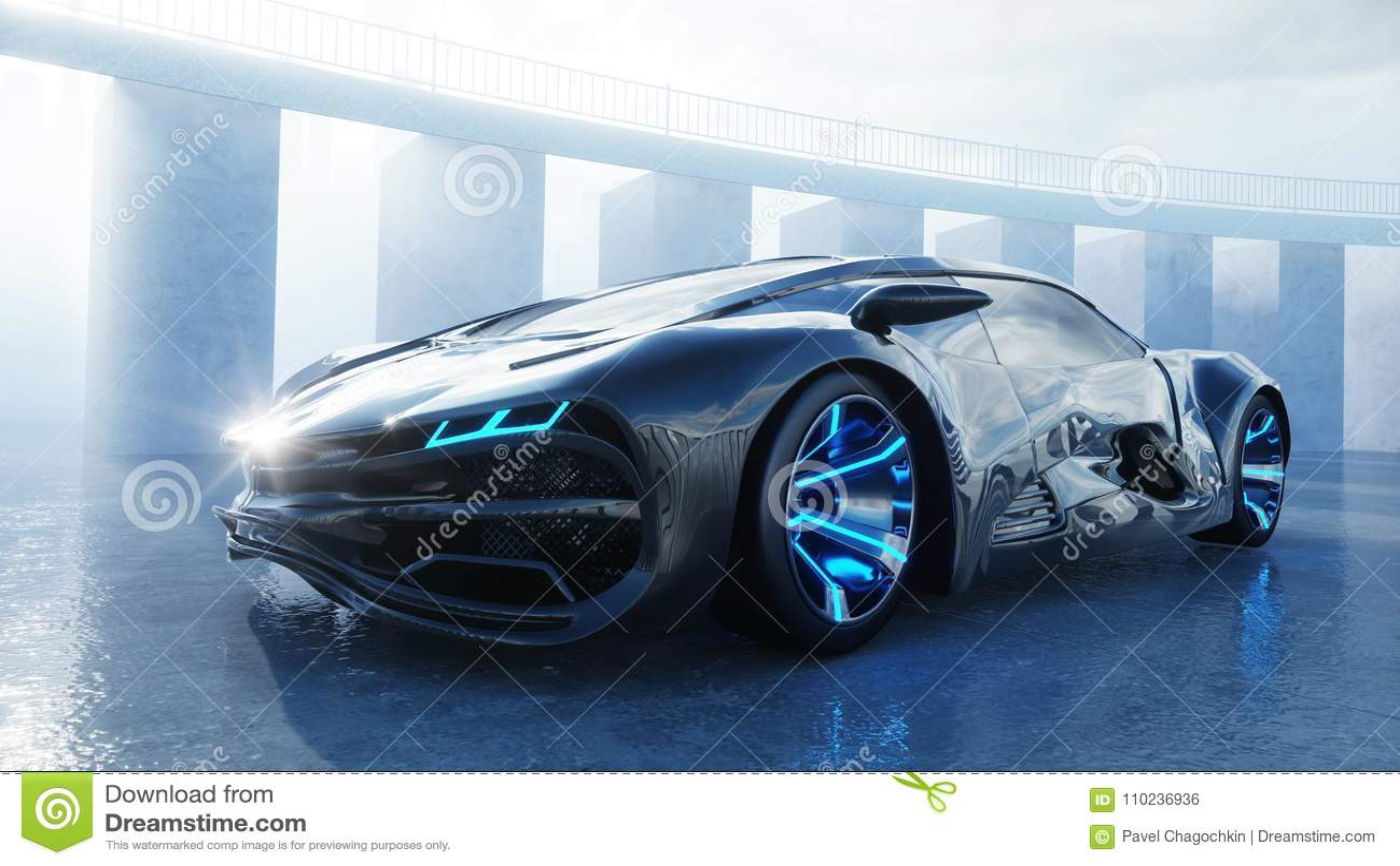 Μαύρο φουτουριστικό ηλεκτρικό αυτοκίνητο στην προκυμαία Αστική ομίχλη Έννοια του μέλλοντος τρισδιάστατη απόδοση