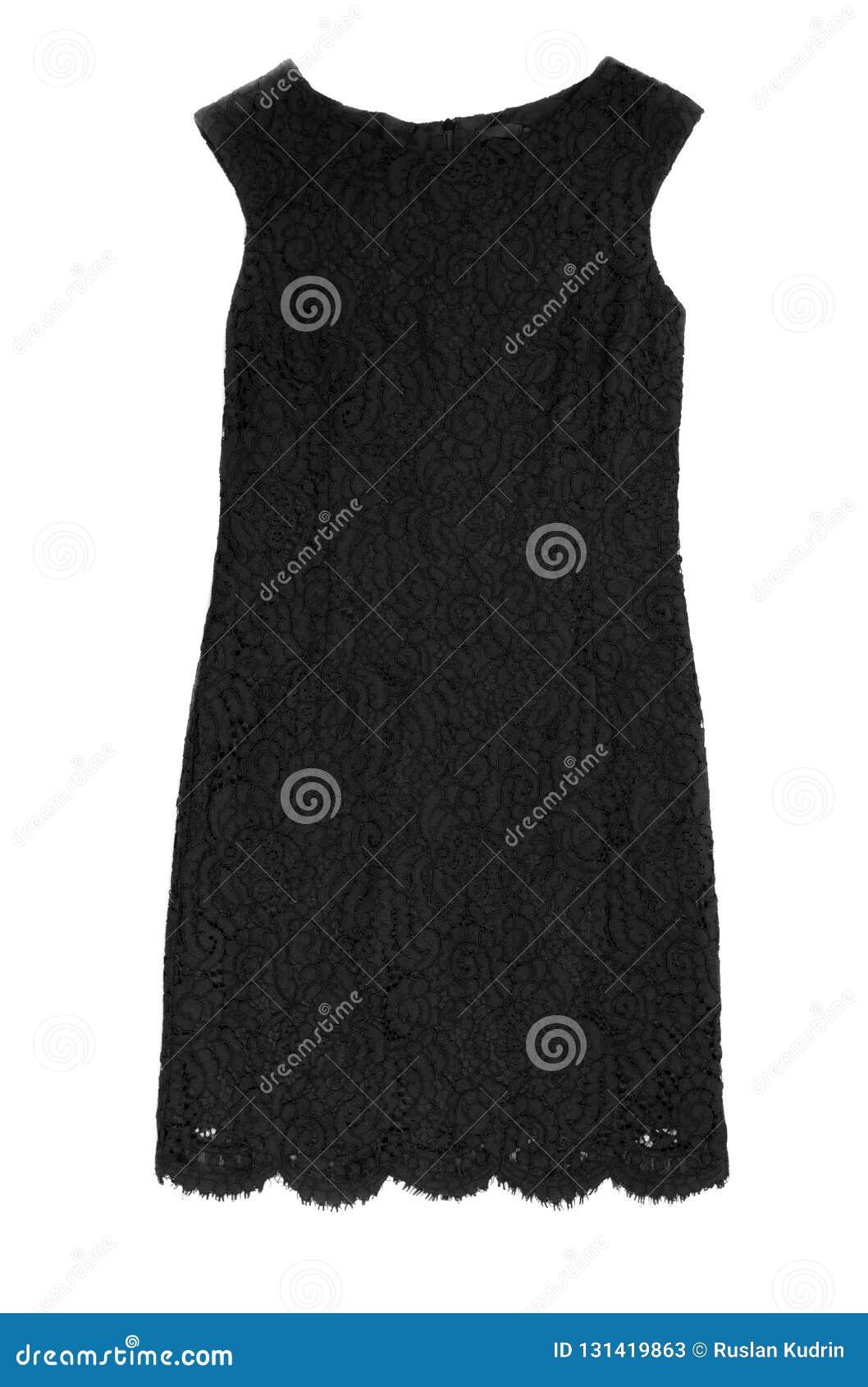 Μαύρο φόρεμα δαντελλών για τις γυναίκες Απομονώστε στο λευκό