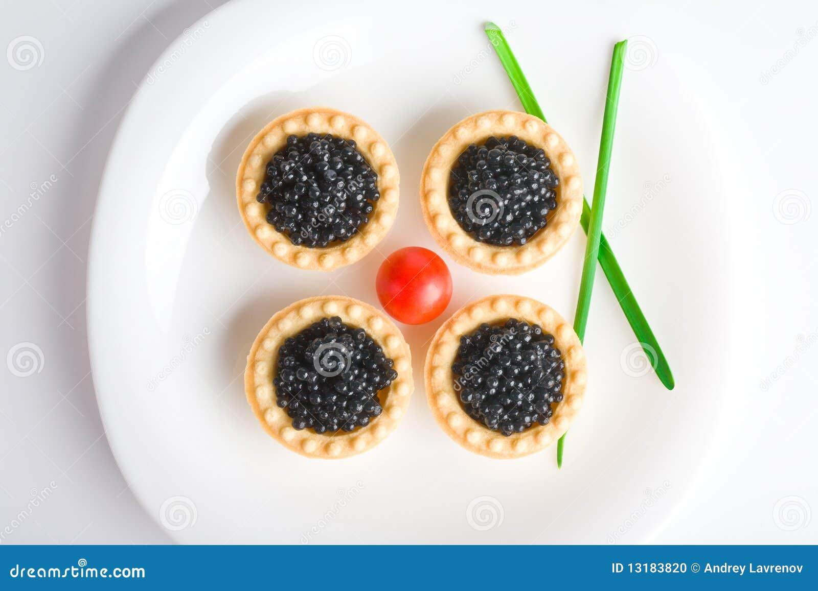 μαύρο platter χαβιαριών λευκό tartlet