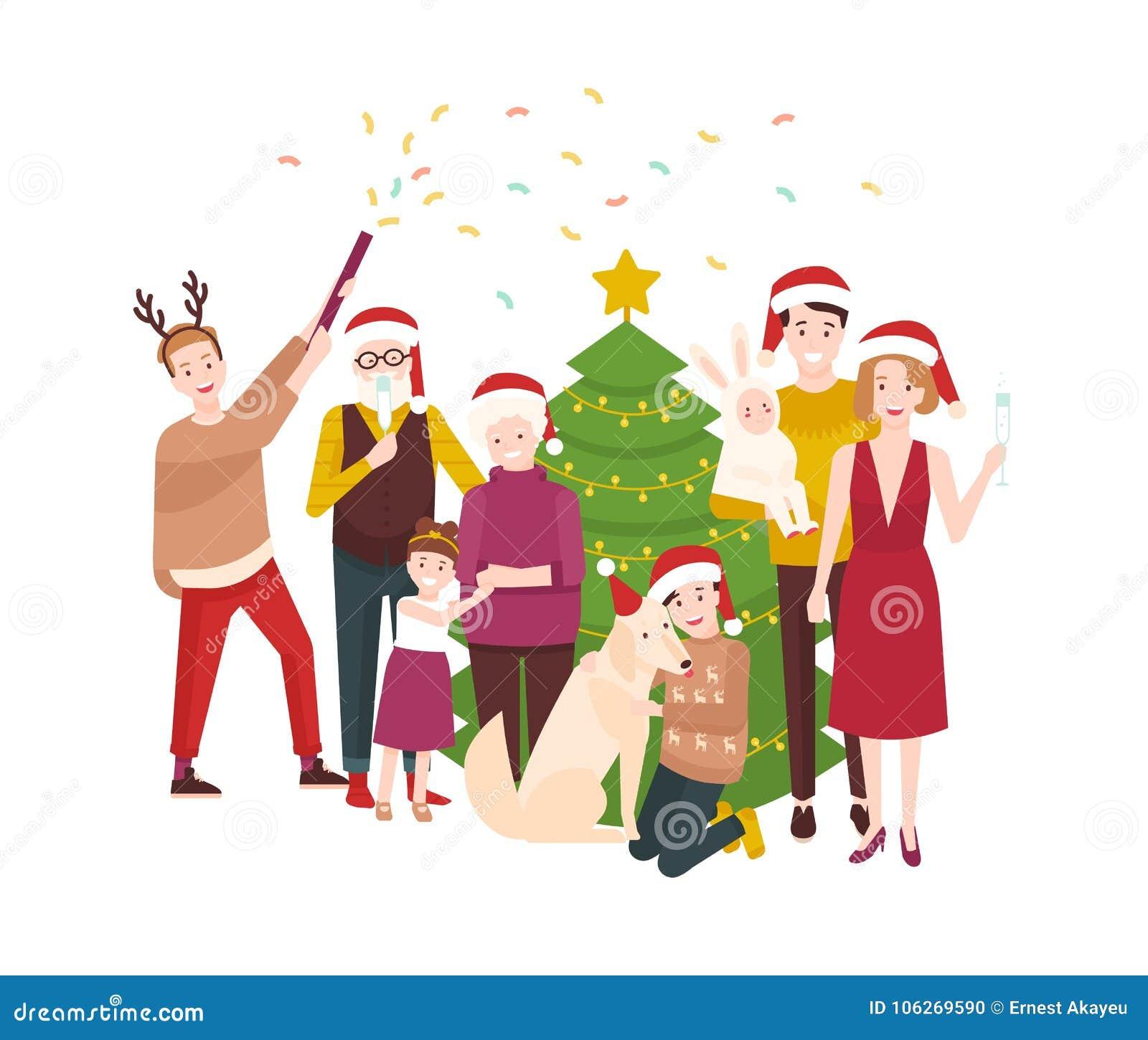 Μεγάλα ευτυχή Χριστούγεννα οικογενειακού εορτασμού Χαμογελώντας άνθρωποι κινούμενων σχεδίων στα καπέλα santa που στέκονται γύρω α