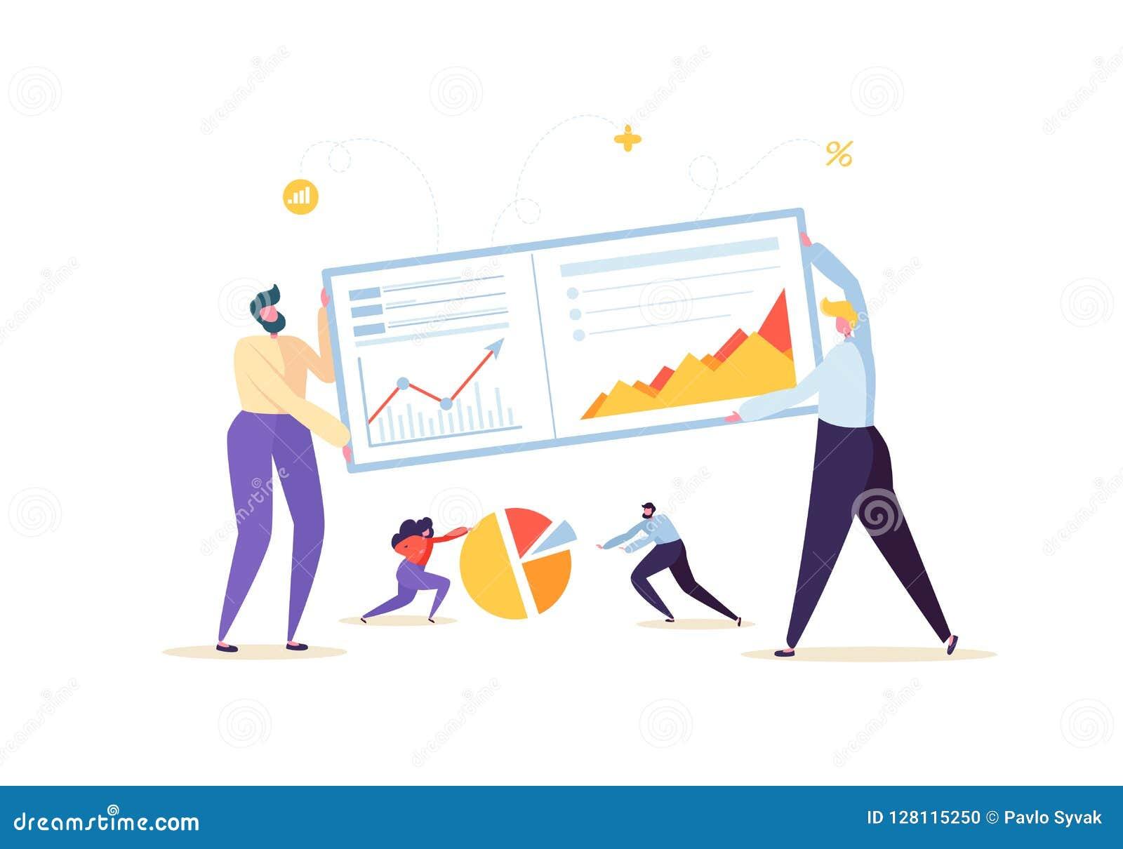 Μεγάλη έννοια στρατηγικής ανάλυσης στοιχείων Μάρκετινγκ Analytics με τους χαρακτήρες επιχειρηματιών που εργάζονται μαζί με τα δια