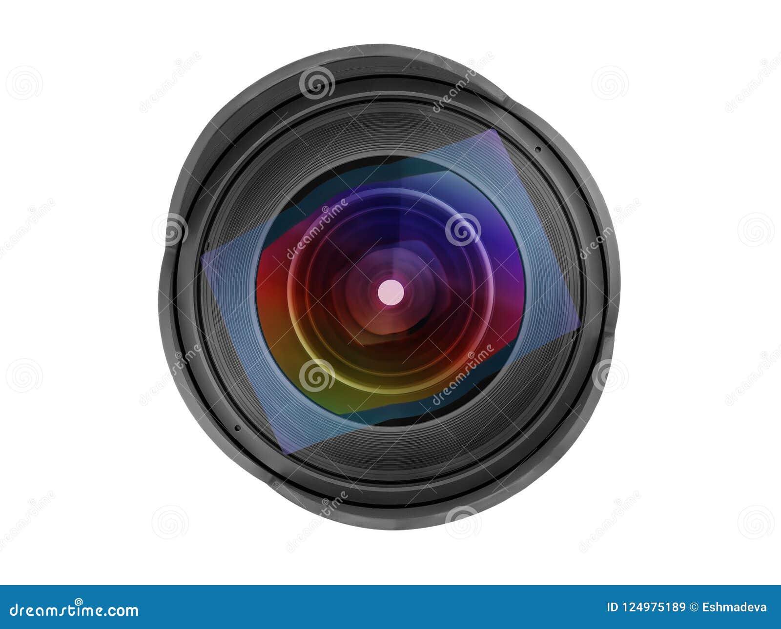 Μεγάλη ευρεία μπροστινή άποψη φακών φωτογραφιών γωνίας που απομονώνεται με το ψαλίδισμα PA