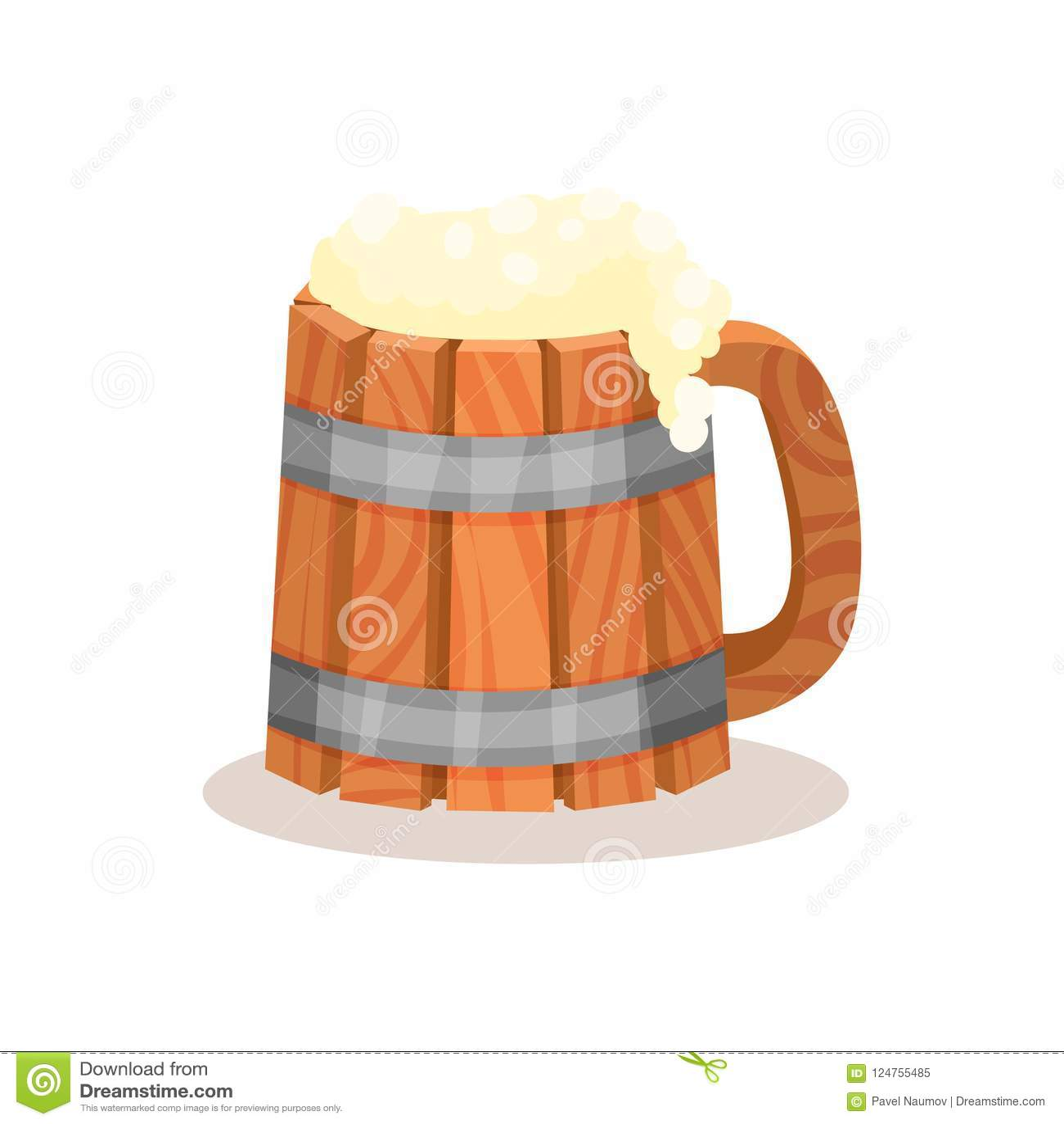 Μεγάλη ξύλινη κούπα της μπύρας με τον αφρό οινοπνευματώδες ποτό Επίπεδο διανυσματικό στοιχείο για το έμβλημα της ταβέρνας ή του φ