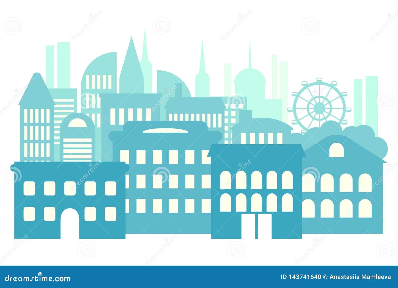 Μεγάλη πόλη, μητρόπολη, πολυκατοικίες Μπλε αφηρημένο υπόβαθρο