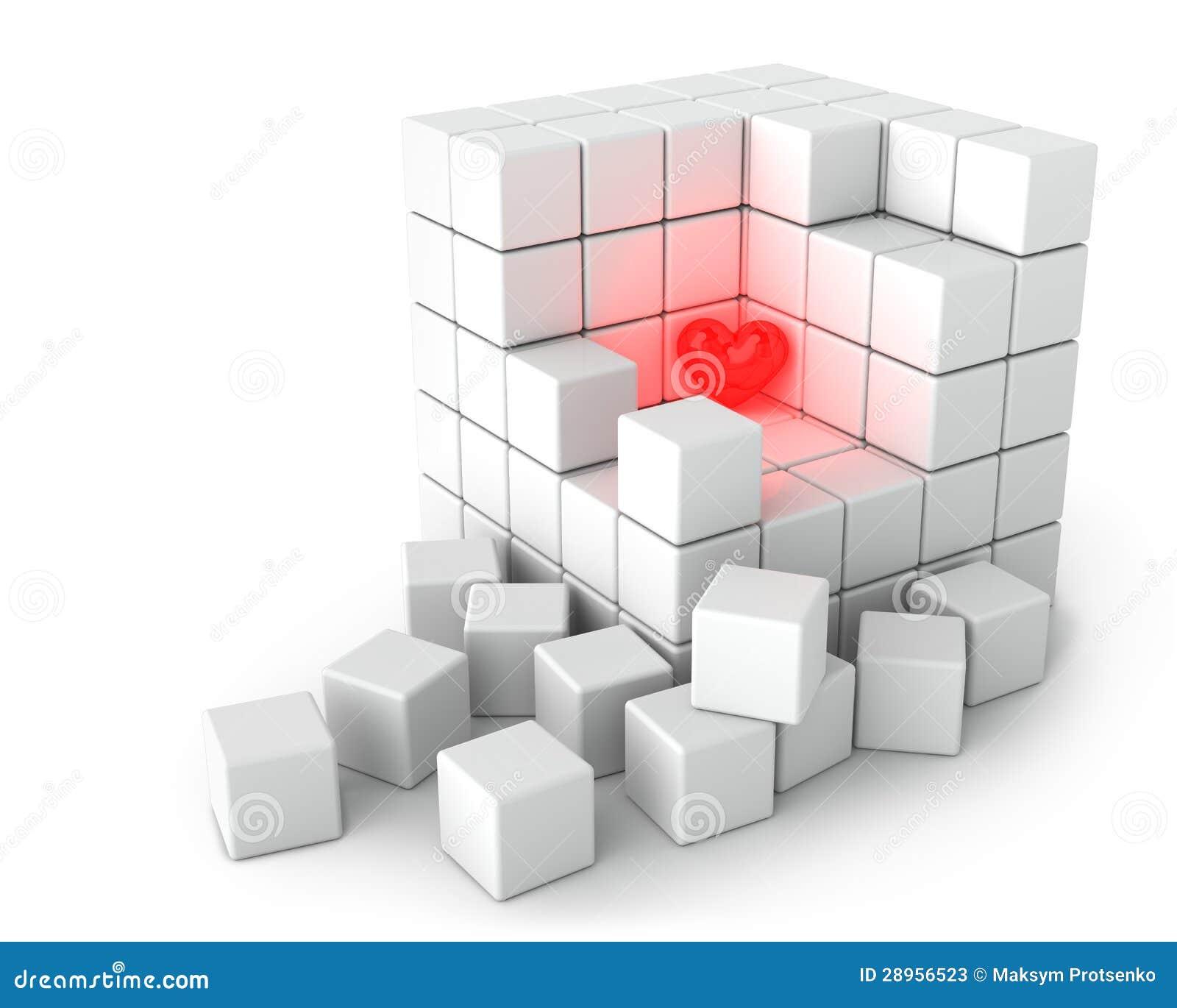 Μεγάλος άσπρος κύβος των μικρών κύβων στην άσπρη ανασκόπηση