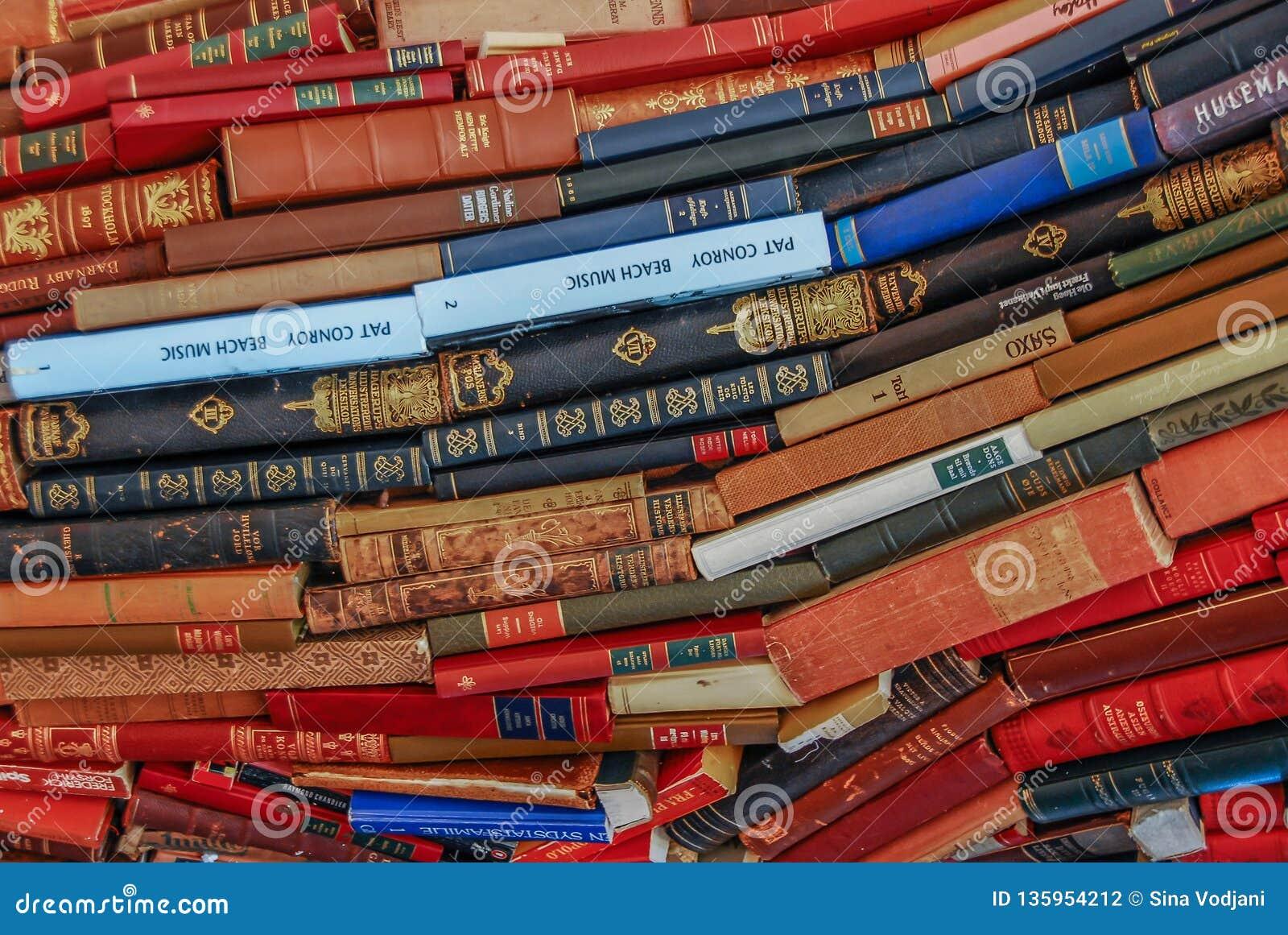 Μεγάλος χρωματισμένος σωρός βιβλίων
