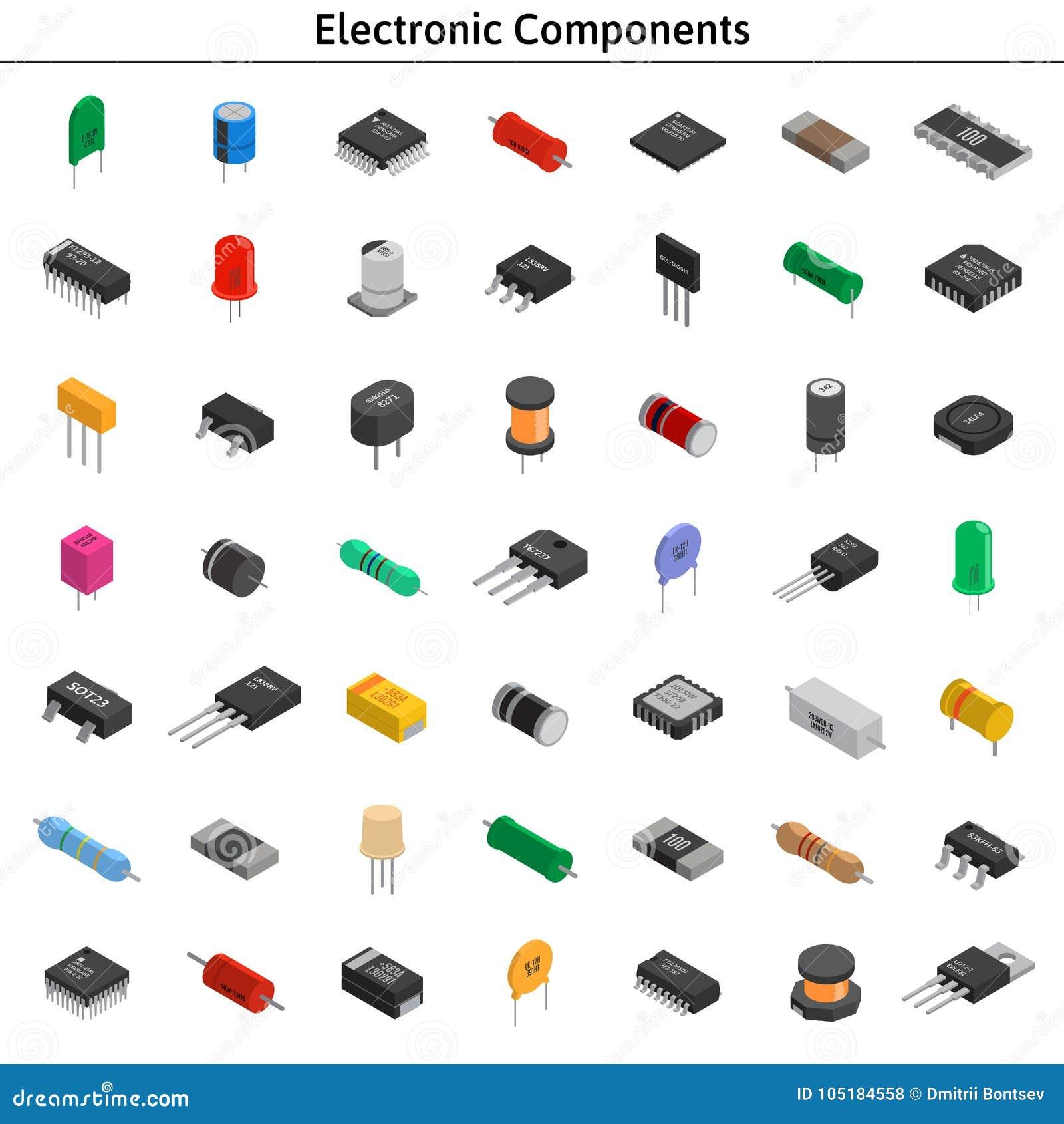 Μεγάλο διανυσματικό σύνολο izometric ηλεκτρονικών συστατικών Πυκνωτές, ρ