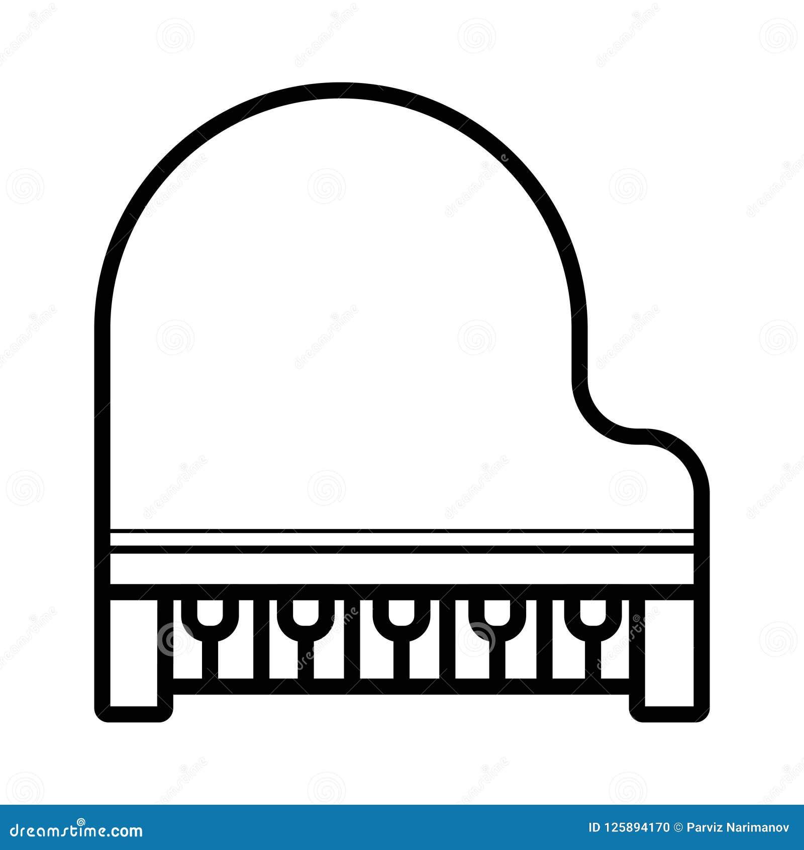 Μεγάλο εικονίδιο γραμμών πιάνων διανυσματικό που απομονώνεται στο άσπρο υπόβαθρο μεγάλος