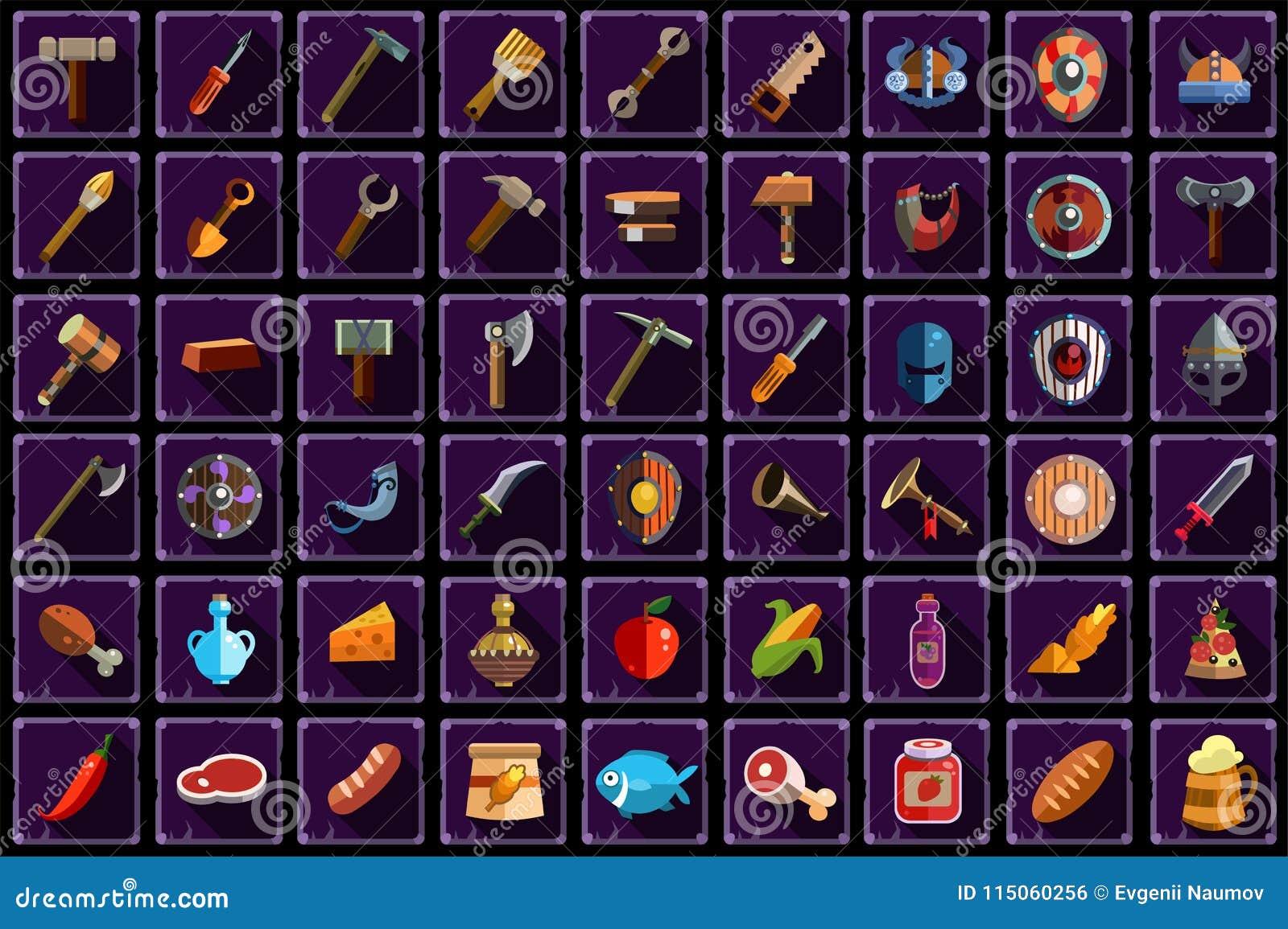 Μεγάλο επίπεδο διανυσματικό σύνολο στοιχείων για το σε απευθείας σύνδεση κινητό παιχνίδι Εργαλεία, εξοπλισμός, όπλο και τρόφιμα μ