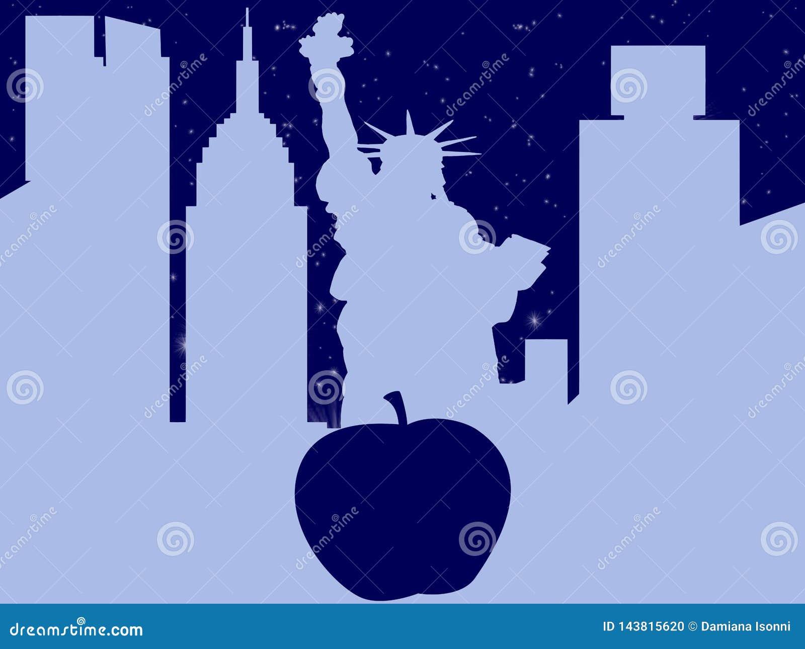Μεγάλο μήλο πόλεων της Νέας Υόρκης σκιαγραφιών wuith