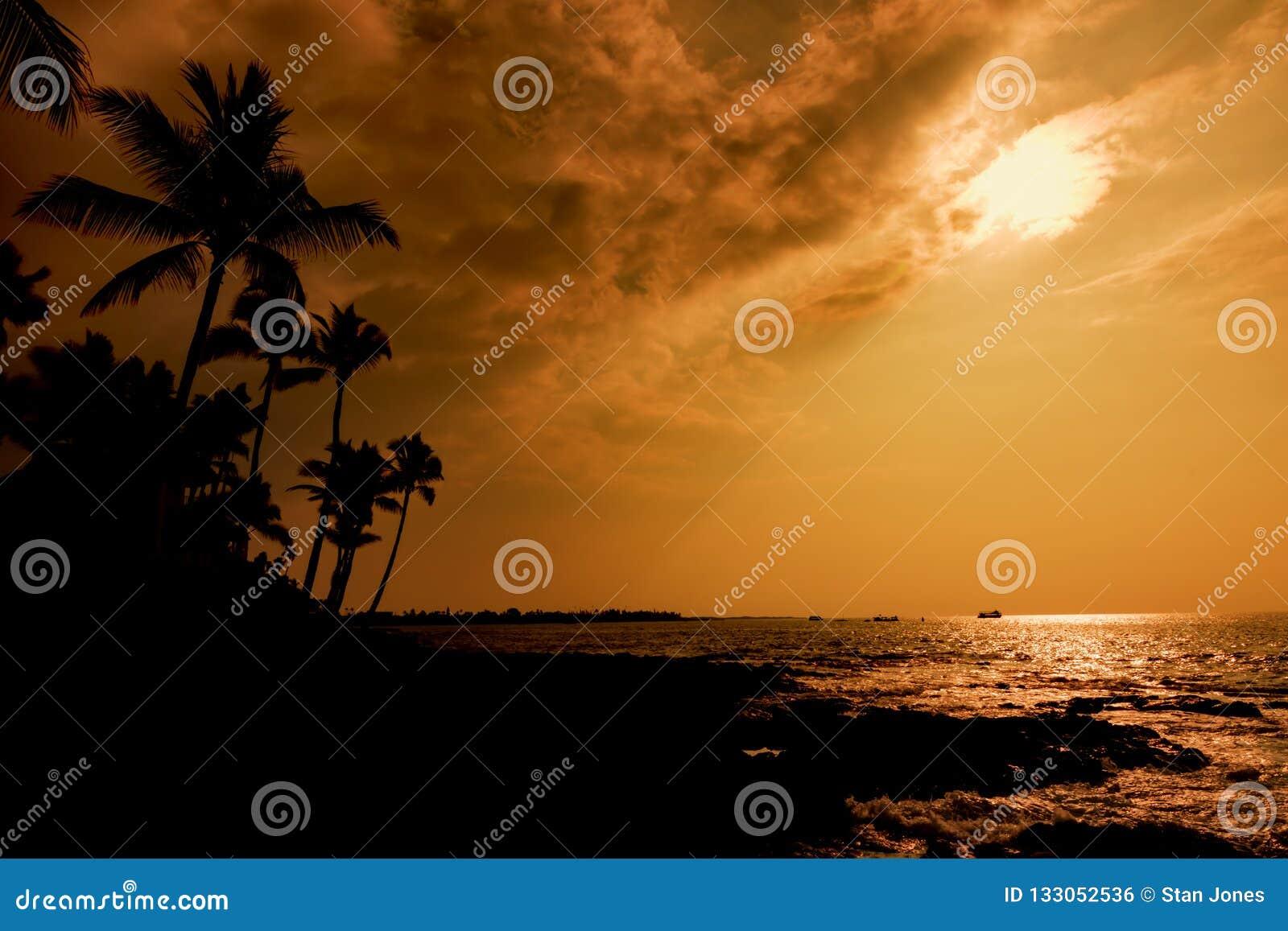 Μεγάλο νησί Χαβάη ηλιοβασιλέματος Kona