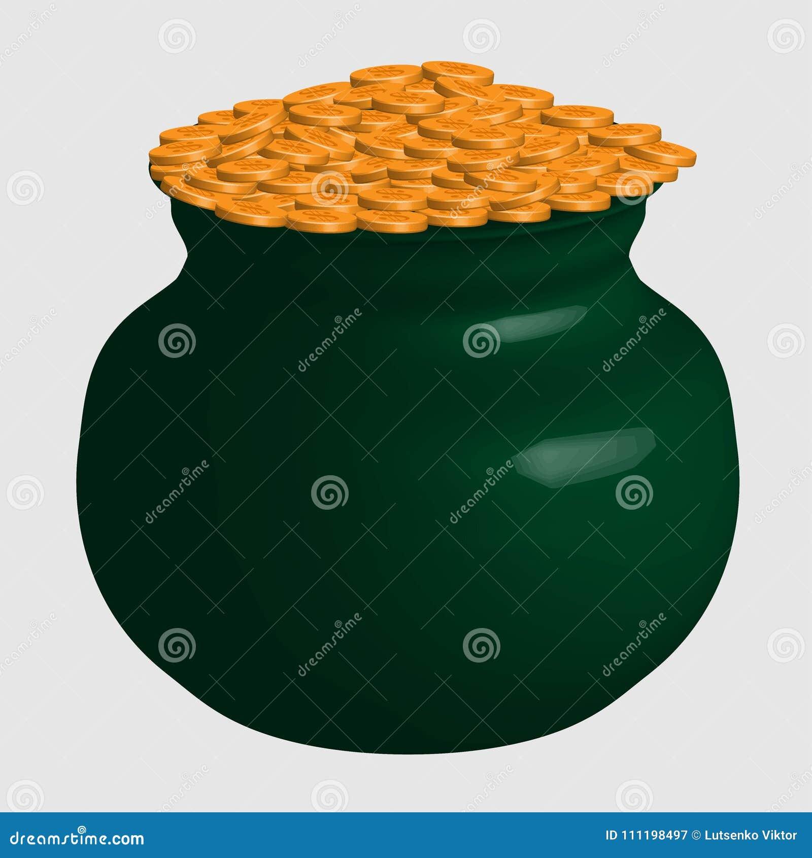 Μεγάλο πράσινο δοχείο διασκέδασης τα χρυσά νομίσματα που απομονώνονται με