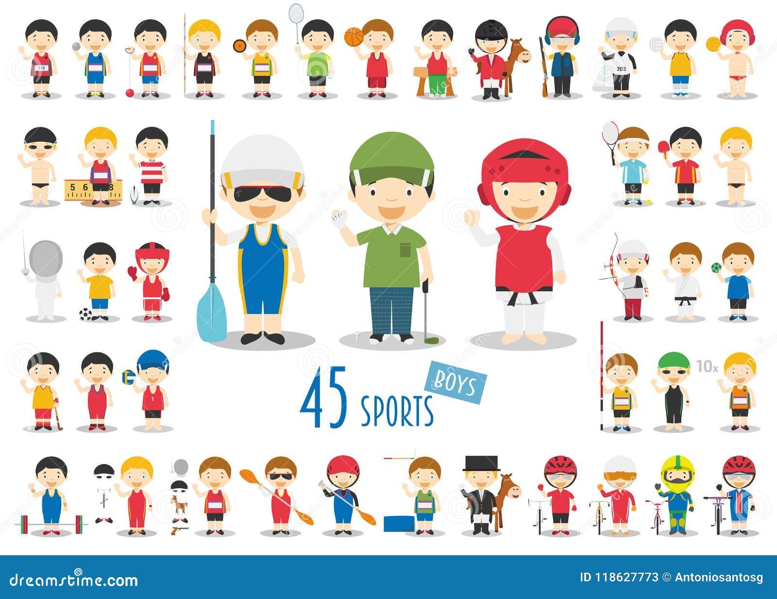 Μεγάλο σύνολο 45 χαριτωμένων αθλητικών χαρακτήρων κινούμενων σχεδίων για τα παιδιά Αστεία αγόρια κινούμενων σχεδίων