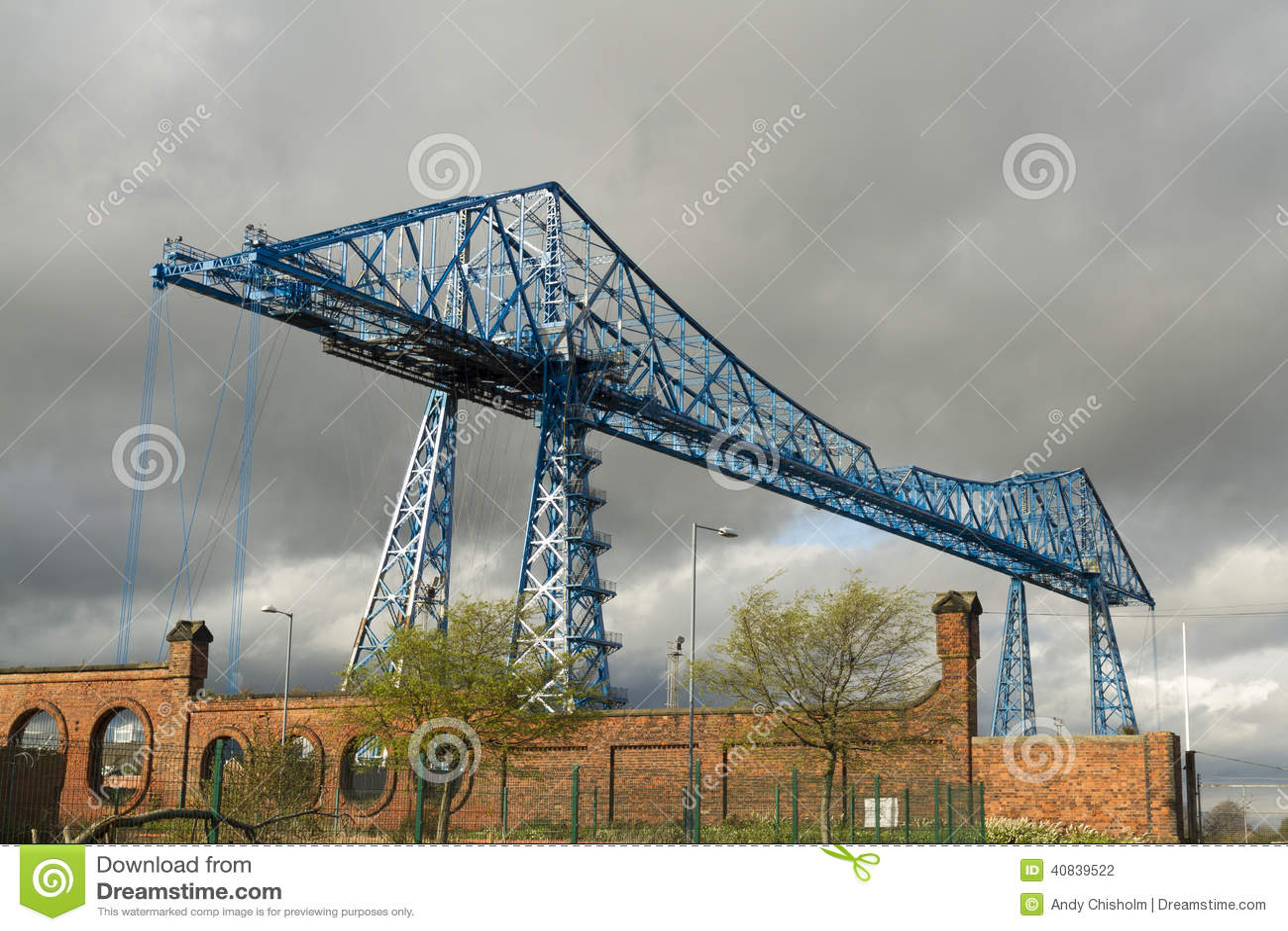 Μεγάλες μπλε δοκοί, γέφυρα μεταφορέων γραμμάτων Τ, Middlesbrough, Αγγλία