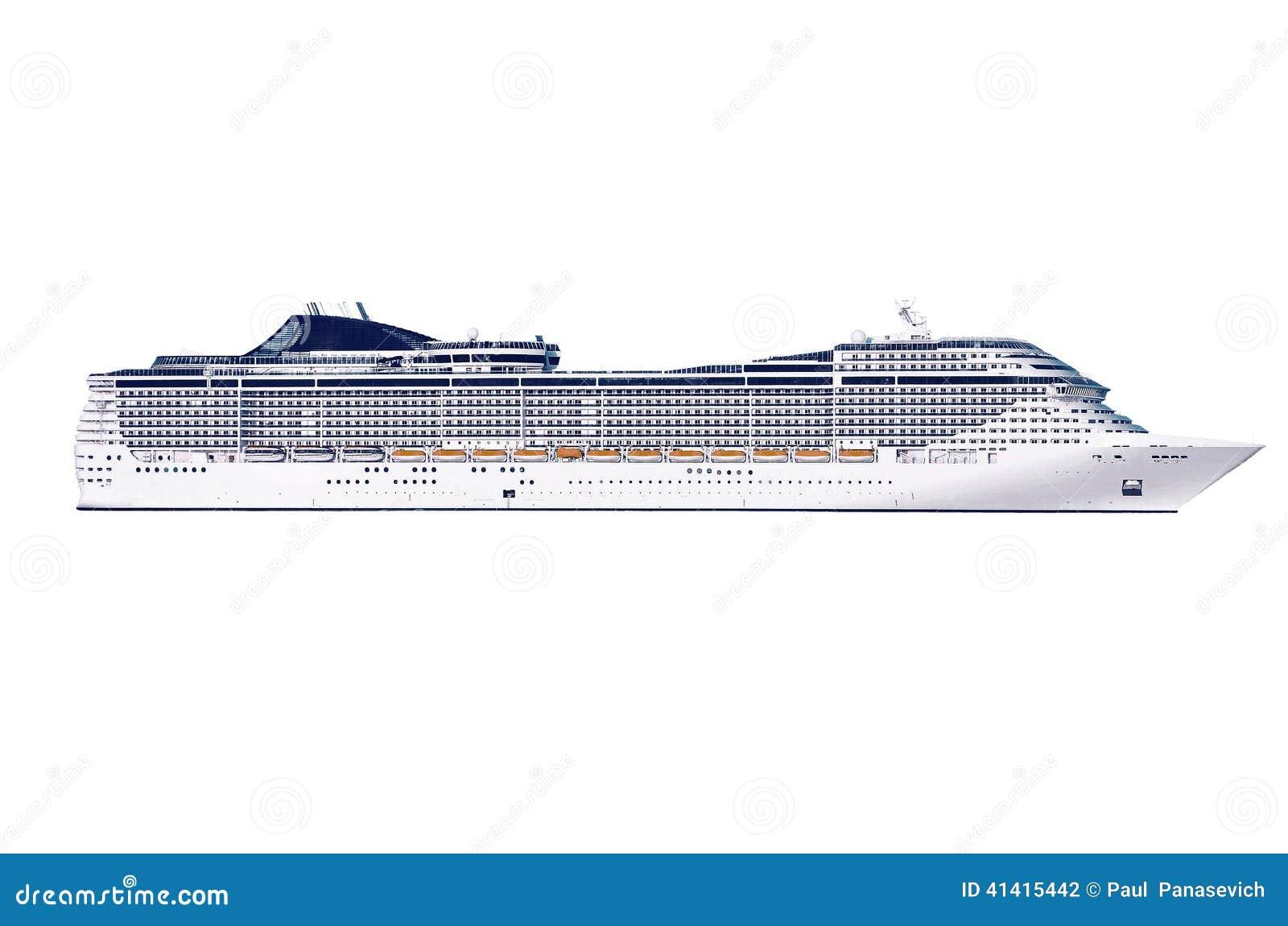 Μεγάλο κρουαζιερόπλοιο σε ένα άσπρο υπόβαθρο