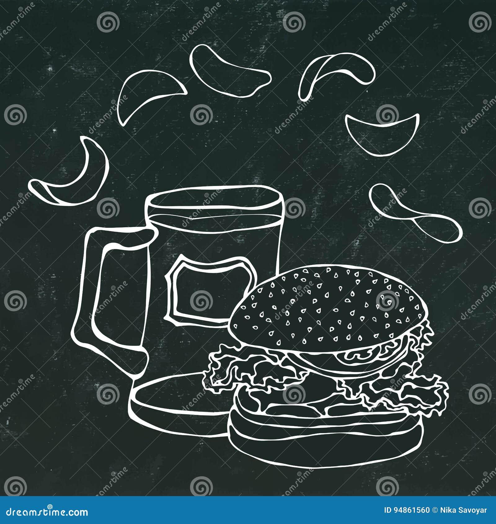 Μεγάλο χάμπουργκερ ή Cheeseburger, κούπα μπύρας ή πίντα και τσιπ πατατών Burger λογότυπο η ανασκόπηση απομόνωσε το λευκό ρεαλιστι