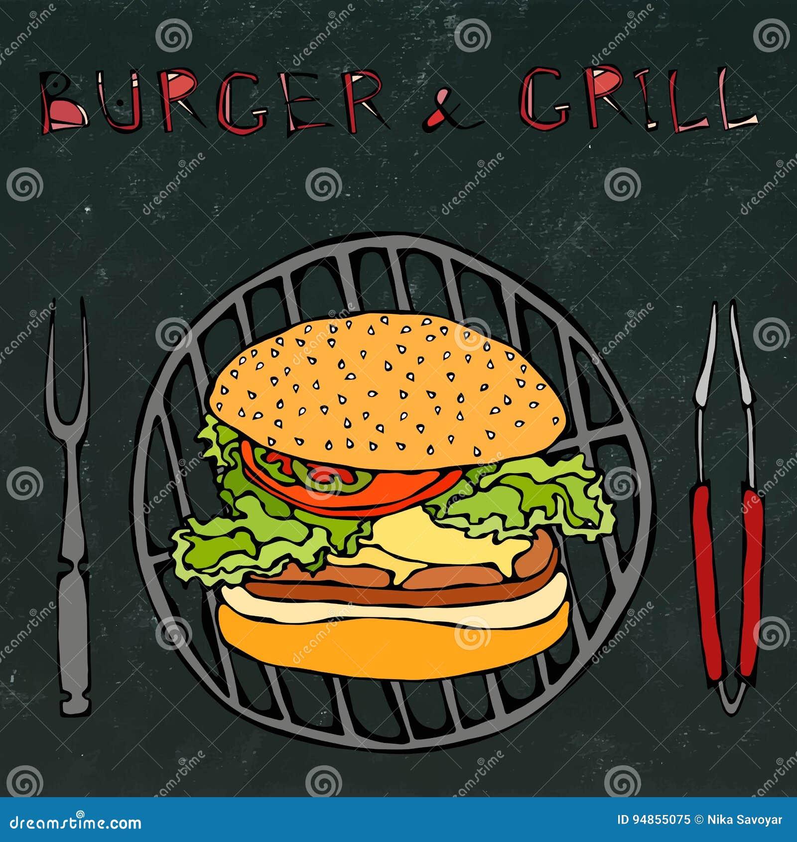 Μεγάλο χάμπουργκερ ή Cheeseburger με BBQ τη σχάρα, τις λαβίδες και το δίκρανο για τη σχάρα Burger εγγραφή απομονωμένος στο Μαύρο