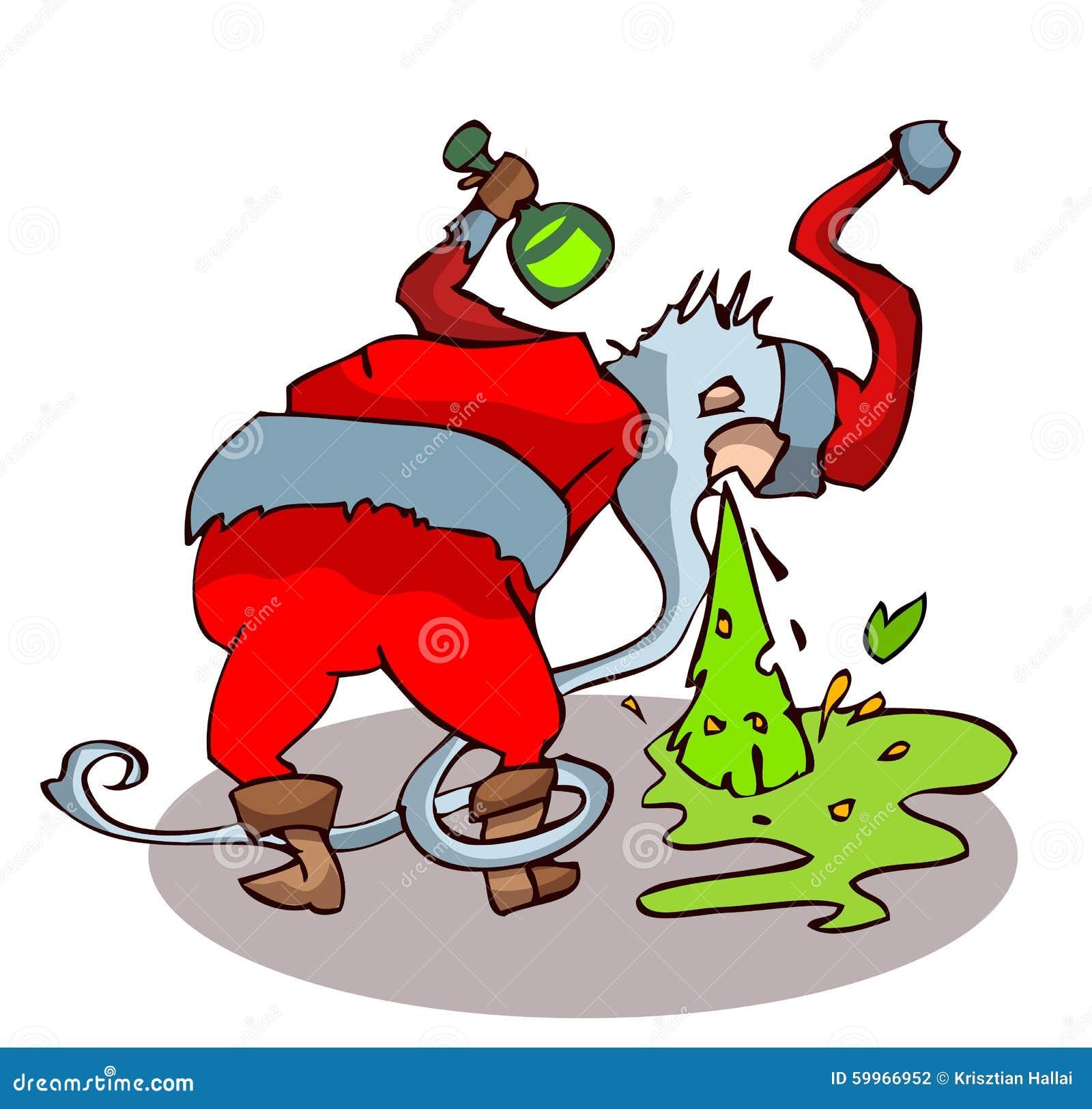Μεθυσμένος Άγιος Βασίλης που ρίχνει επάνω