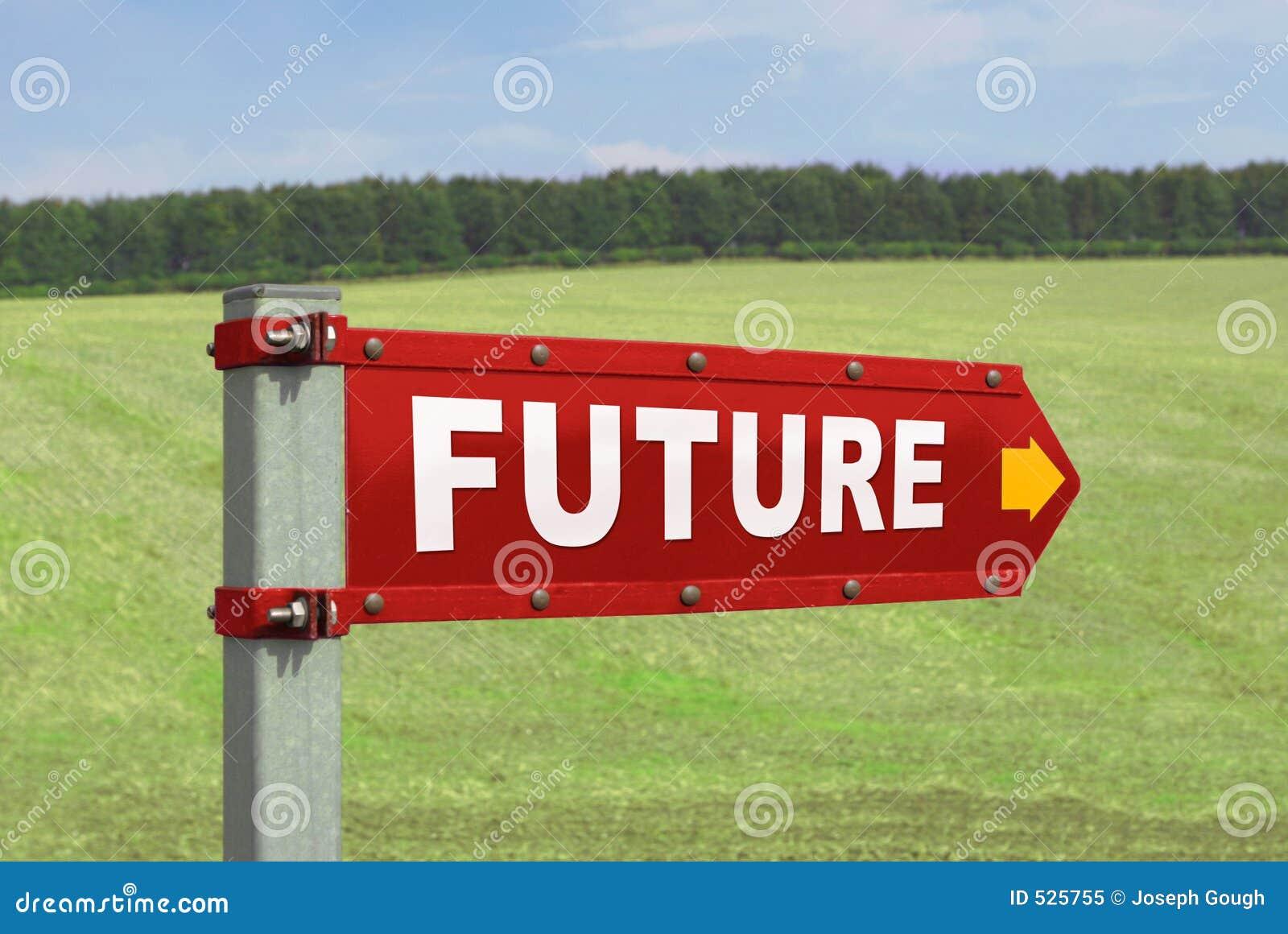 μελλοντικό δείχνοντας οδικό σημάδι