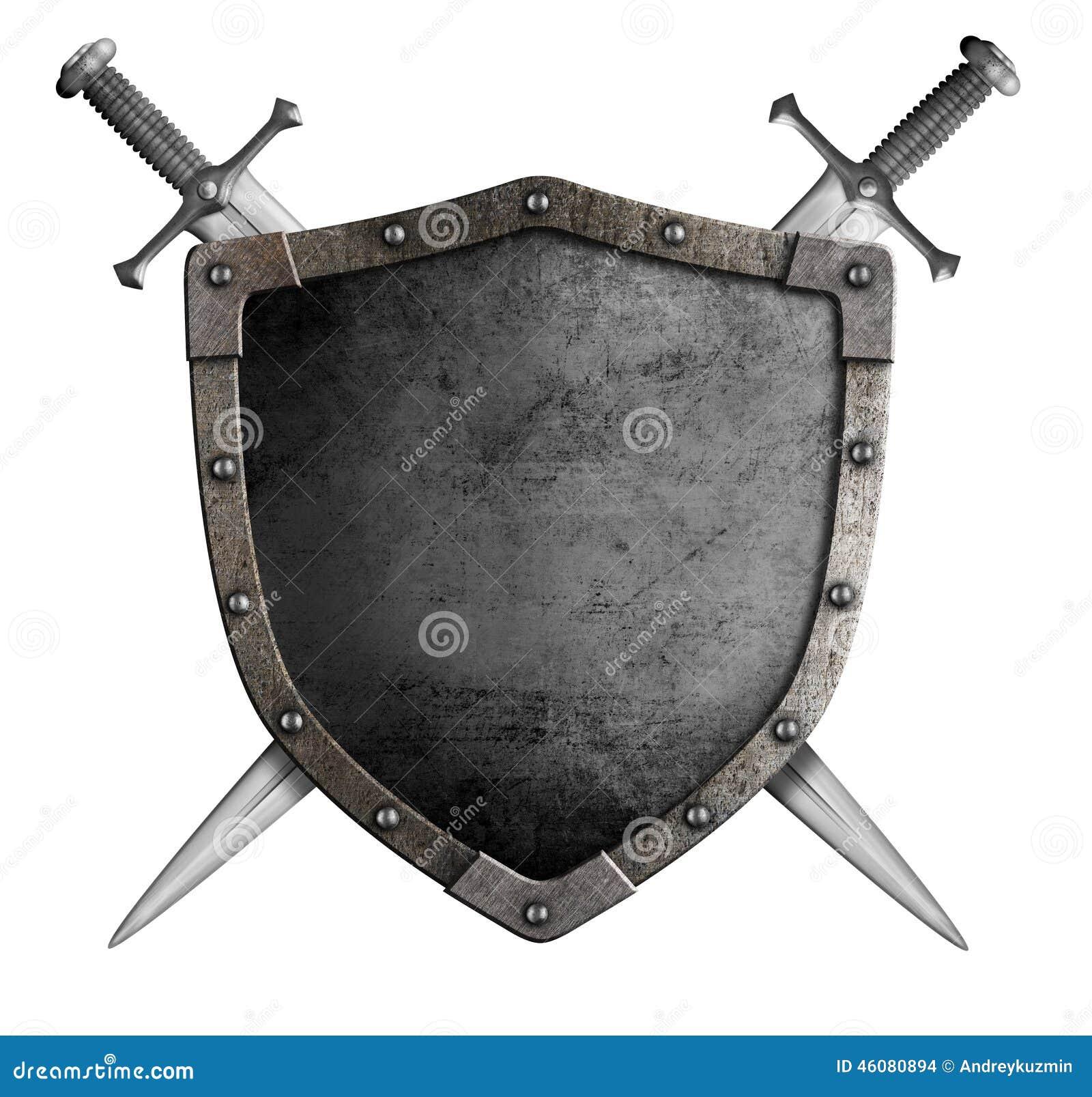 Μεσαιωνικά ασπίδα και ξίφος ιπποτών καλύψεων των όπλων
