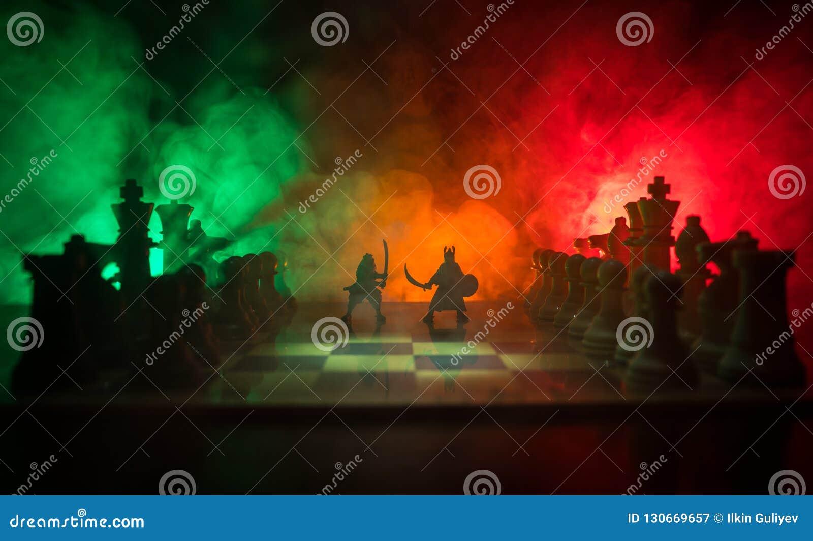 Μεσαιωνική σκηνή μάχης με το ιππικό και το πεζικό στη σκακιέρα Έννοια επιτραπέζιων παιχνιδιών σκακιού των επιχειρησιακών ιδεών κα