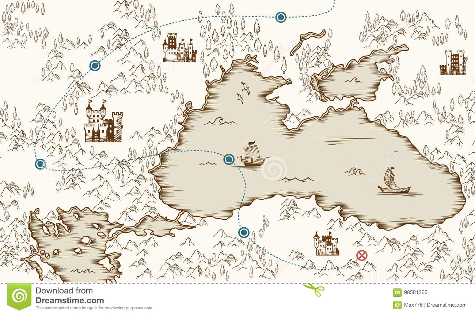 Μεσαιωνική χαρτογραφία, παλαιός χάρτης θησαυρών πειρατών, διανυσματική απεικόνιση