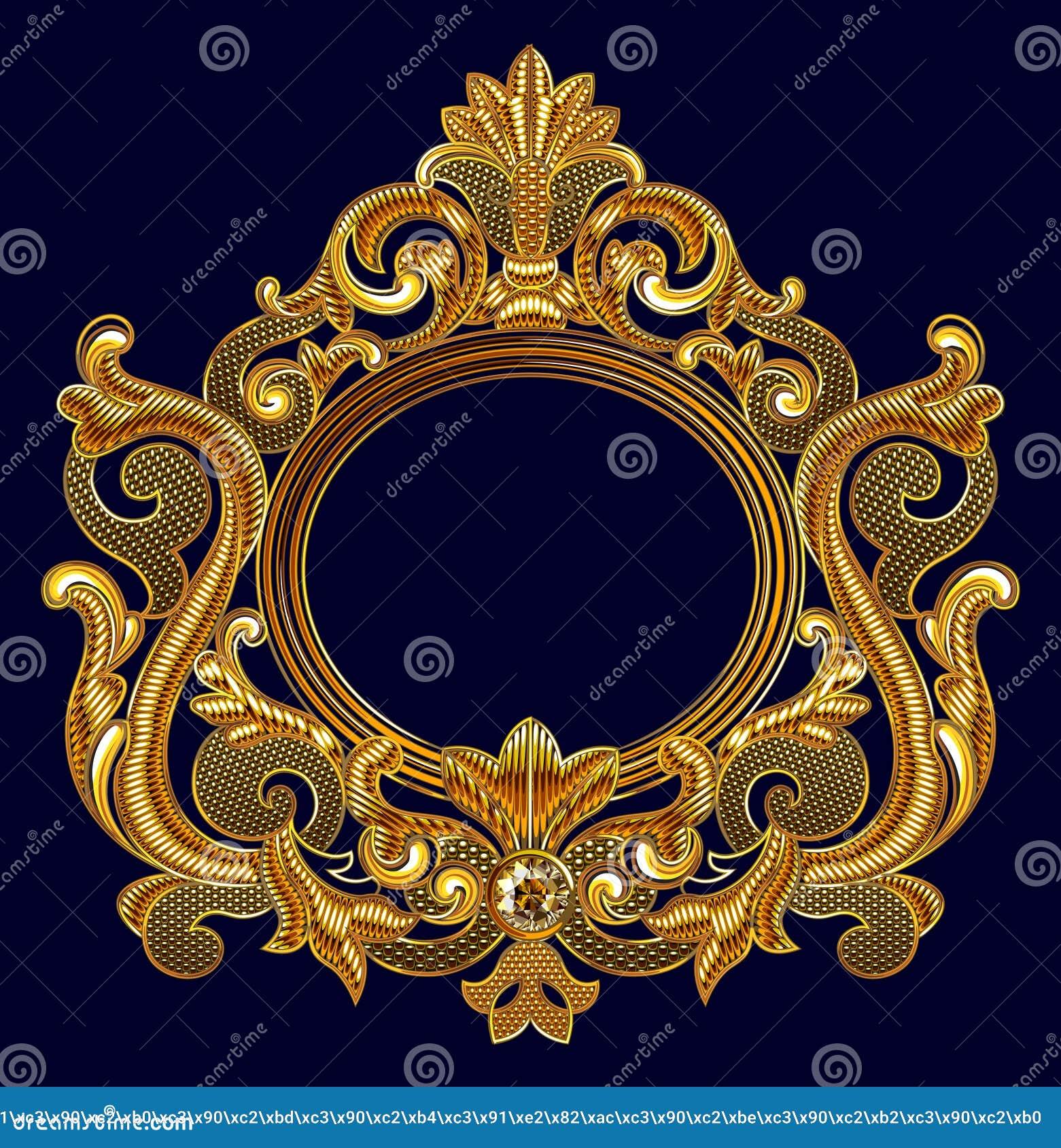 Μεσαιωνικό διανυσματικό πλαίσιο κεντητικής Goldwork