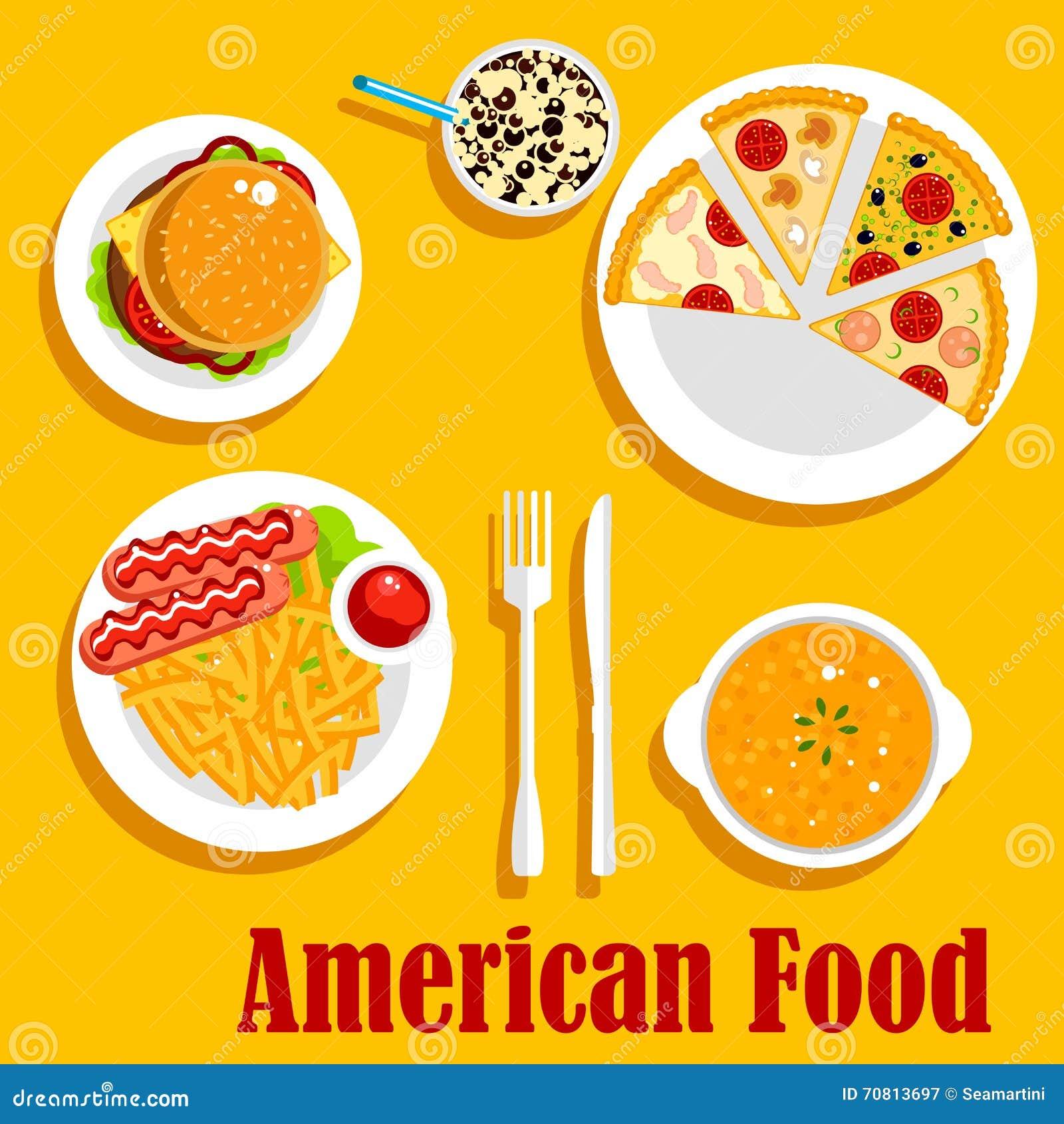 Μεσημεριανό γεύμα γρήγορου φαγητού του αμερικανικού επίπεδου εικονιδίου κουζίνας