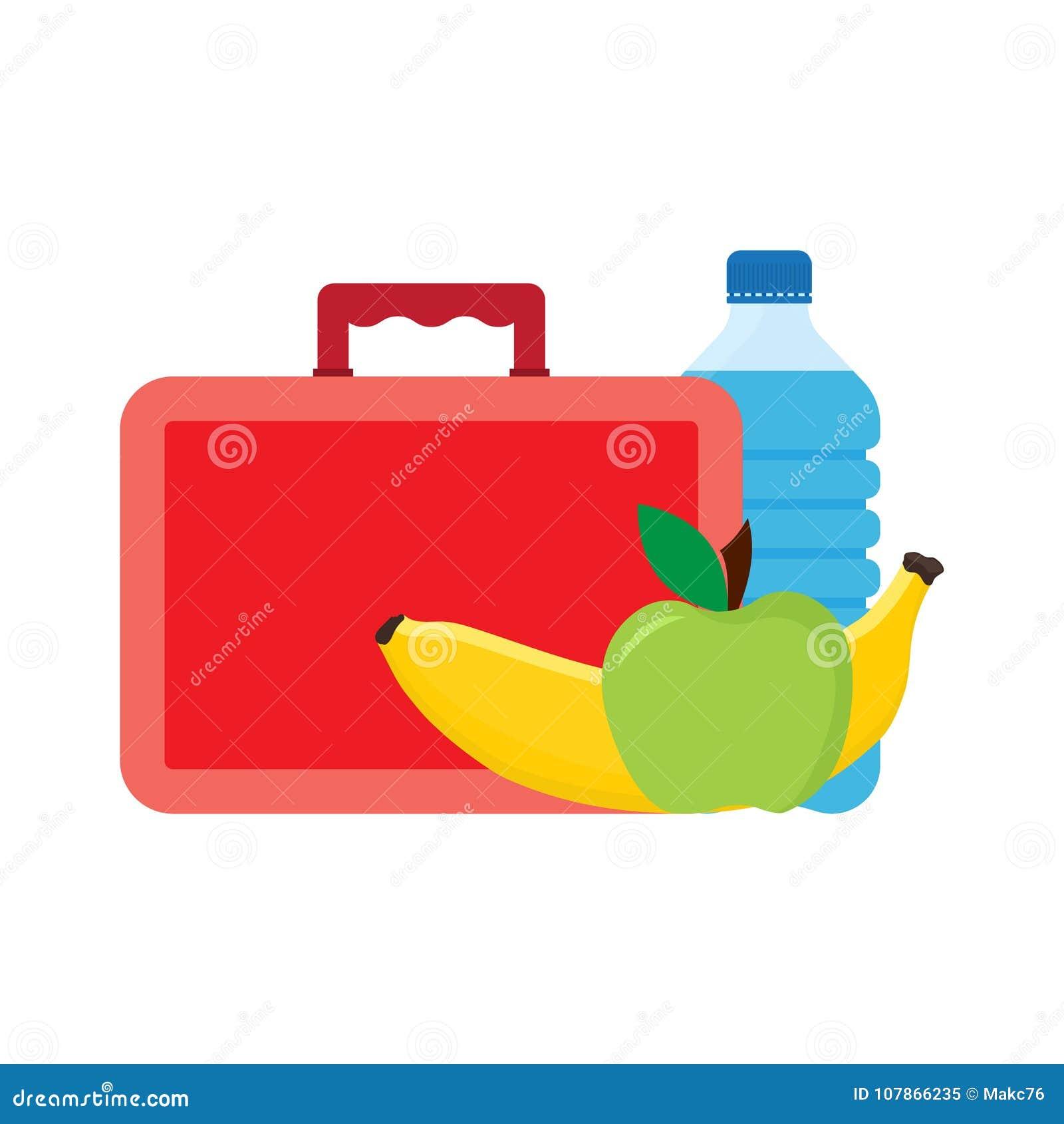 Μεσημεριανό διάλειμμα ή χρόνος μεσημεριανού γεύματος Καλαθάκι με φαγητό με το σχολικό μεσημεριανό γεύμα