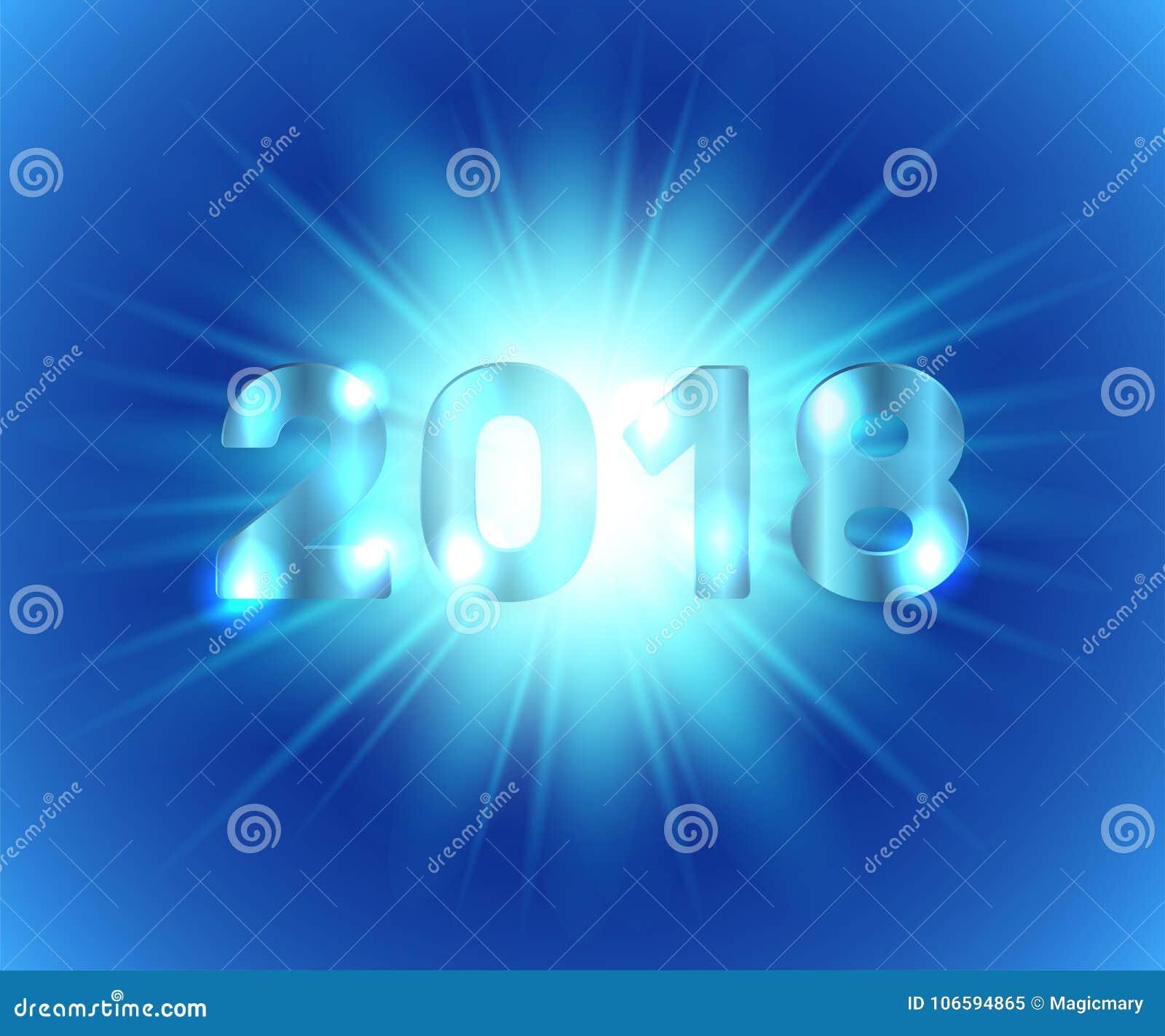 Μεταλλικά ψηφία 2018 στο μπλε υπόβαθρο με την επίδραση πυράκτωσης διάνυσμα
