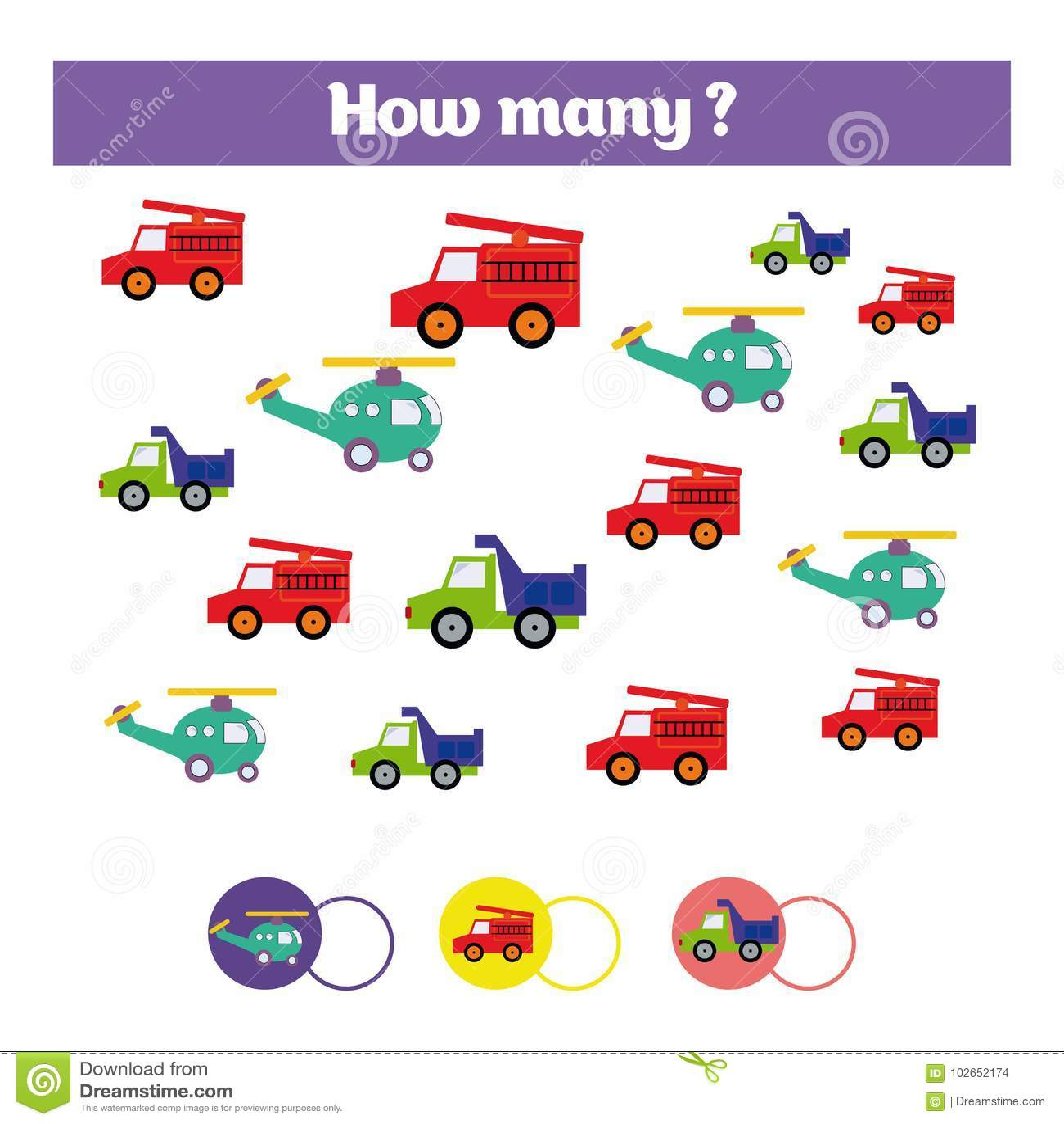 Μετρώντας εκπαιδευτικό παιχνίδι παιδιών, φύλλο δραστηριότητας παιδιών Στόχος πόσων αντικειμένων Μαθηματικά εκμάθησης, αριθμοί, θέ