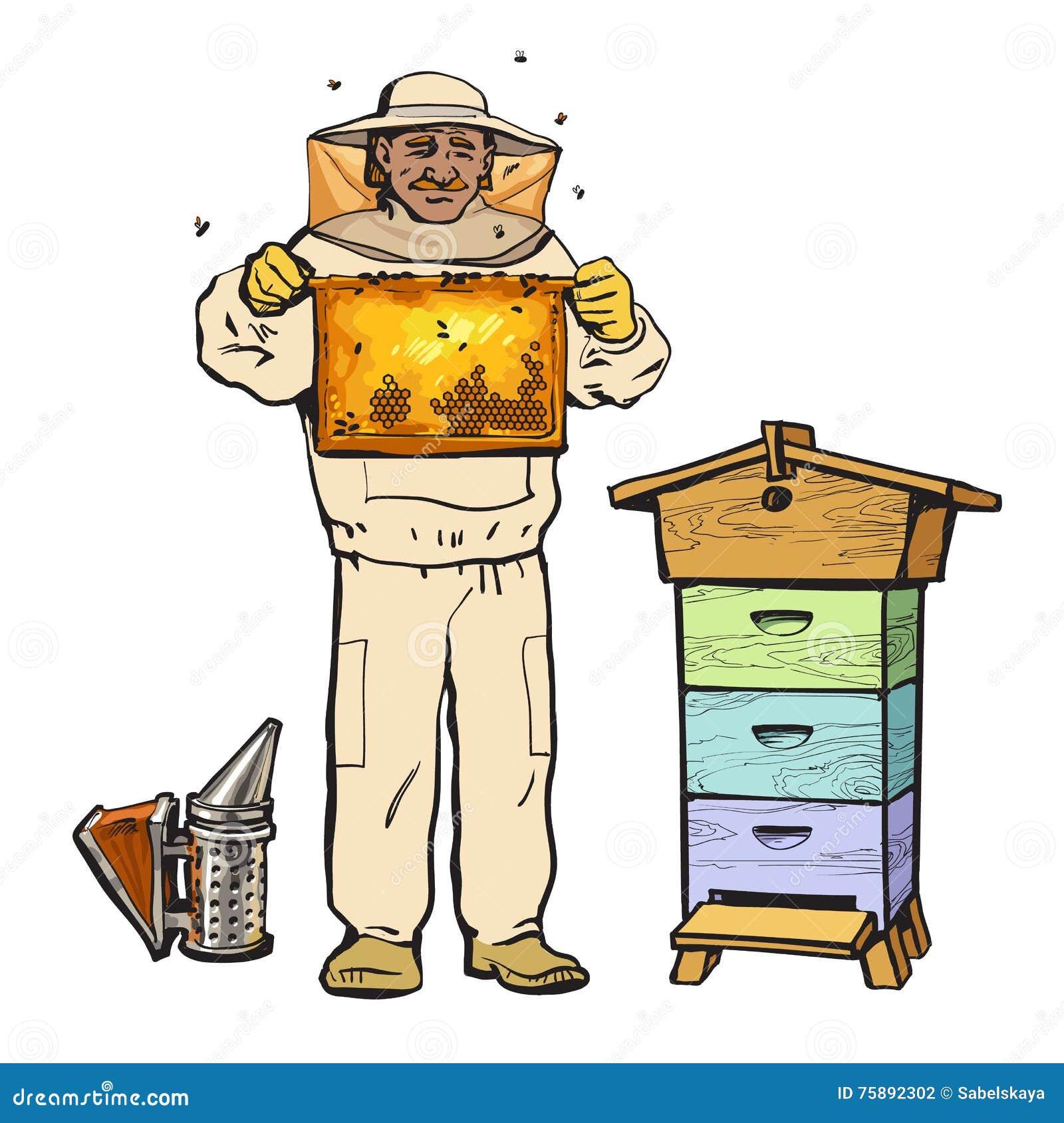 Μελισσοκόμος στην προστατευτική κηρήθρα εκμετάλλευσης εργαλείων και καπνιστής