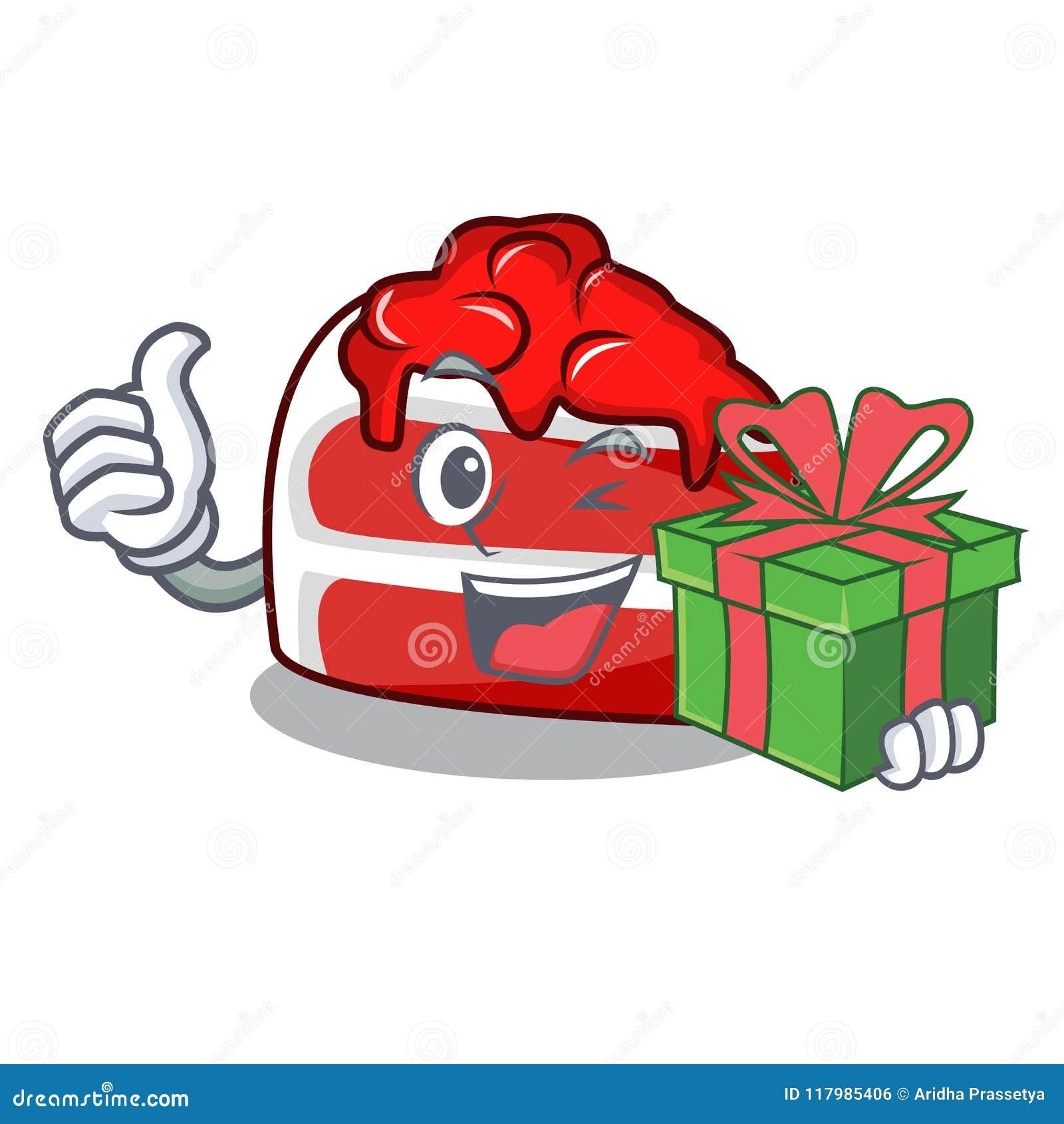 Με τα κόκκινα κινούμενα σχέδια μασκότ βελούδου δώρων