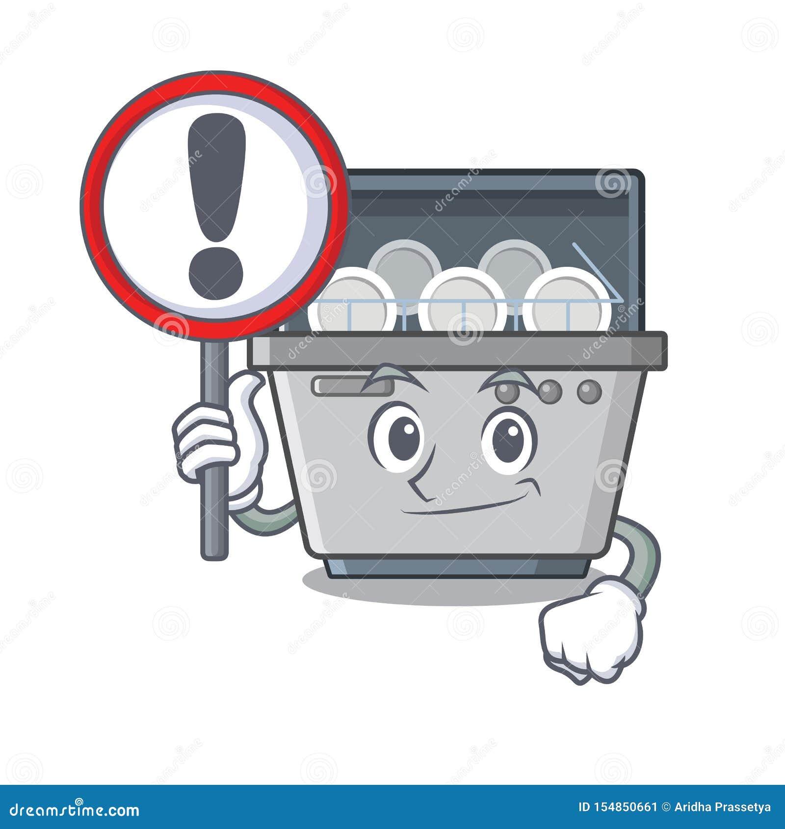 Με τη μηχανή πλυντηρίων πιάτων μασκότ σημαδιών στην κουζίνα