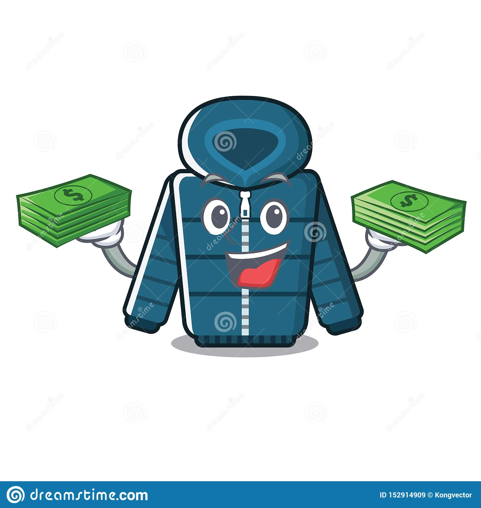 Με το χειμερινό παλτό τσαντών χρημάτων που απομονώνεται με τη μασκότ