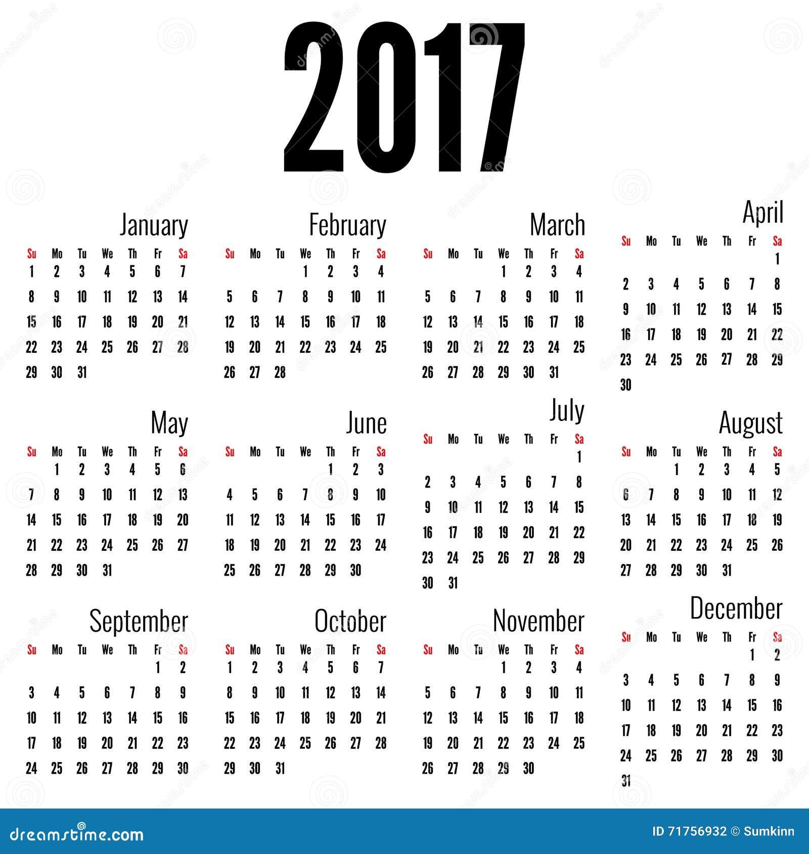 Μηνιαίο ημερολόγιο για το 2017