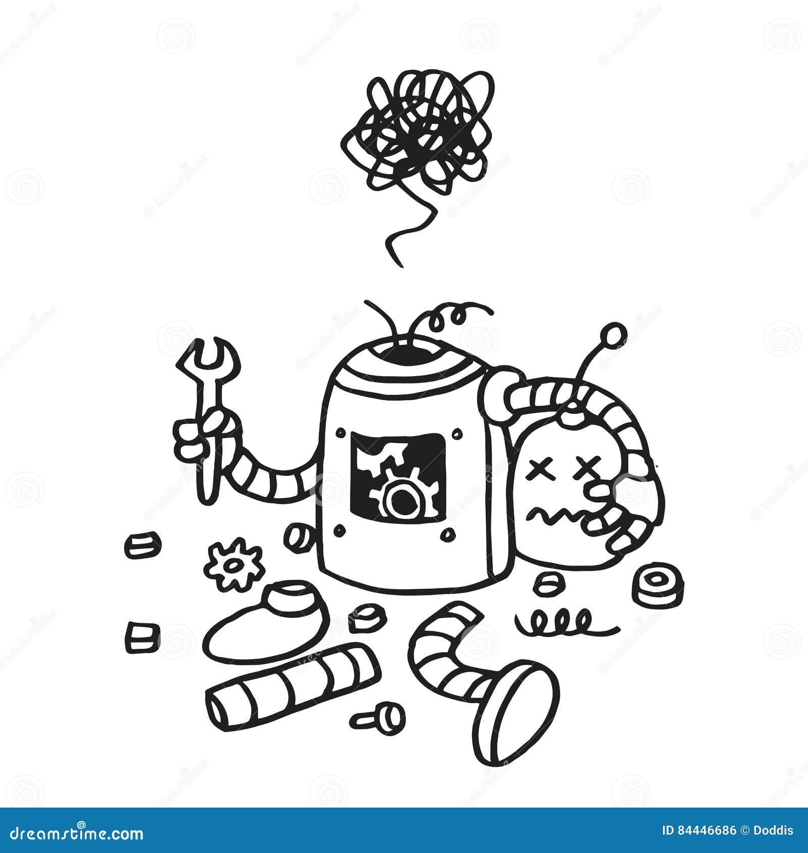 Μην βριαλμένη σελίδων λάθος 404 Σπασμένο συρμένο χέρι διανυσματικό πρότυπο ρομπότ