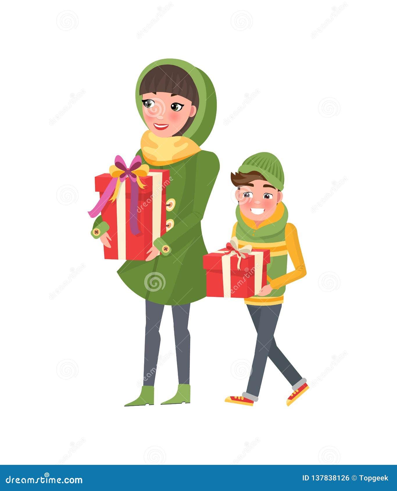 Μητέρα και Son Do Shopping Together Mom και αγόρι