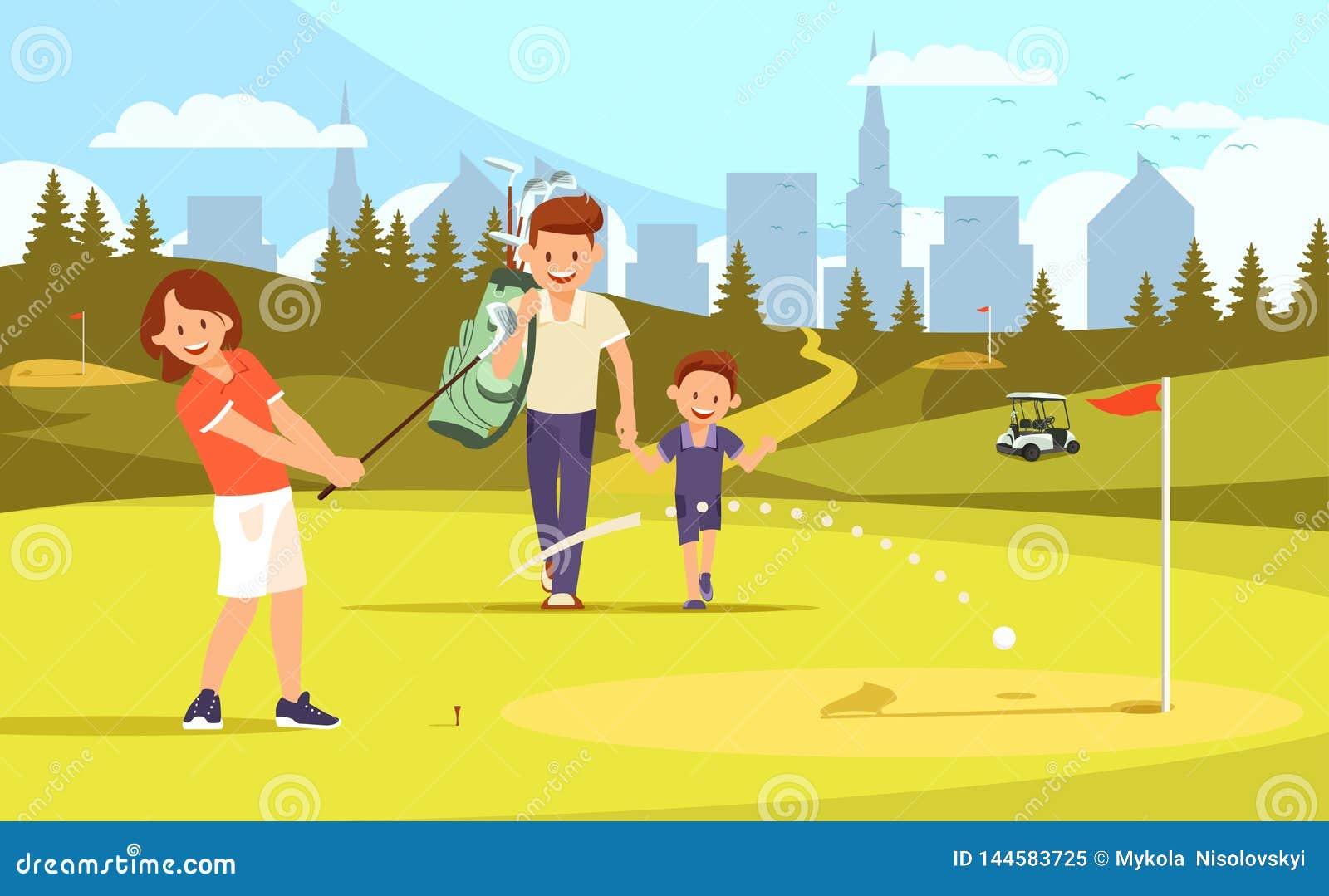 Μητέρα, πατέρας και γιος στον τομέα γκολφ :
