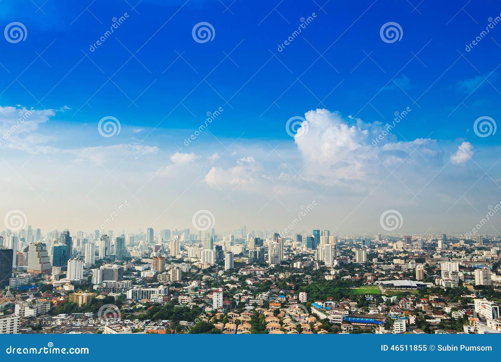 Μητρόπολη της Μπανγκόκ, εναέρια άποψη πέρα από τη μεγαλύτερη πόλη