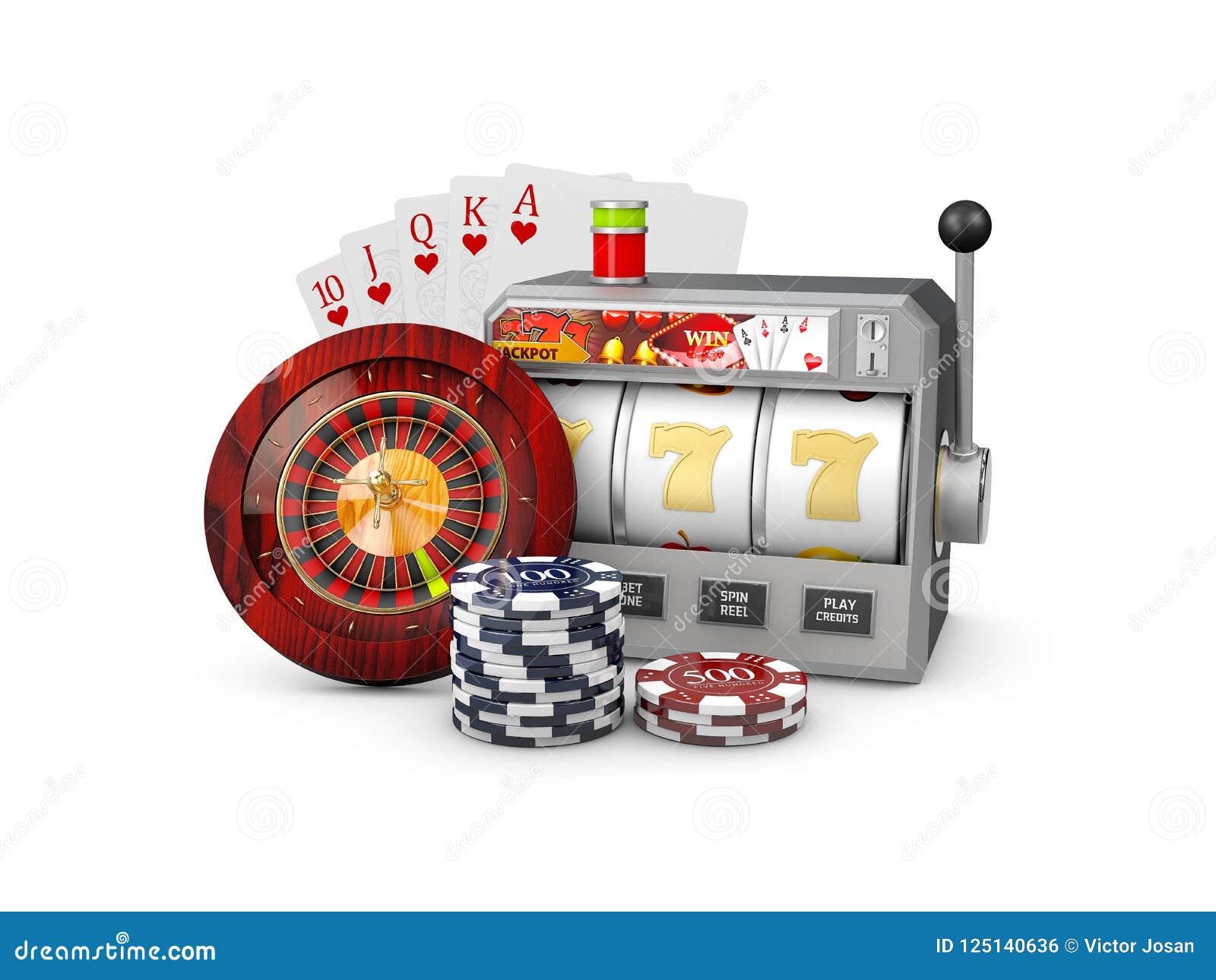 Μηχάνημα τυχερών παιχνιδιών με κέρματα με το τζακ ποτ, έννοια χαρτοπαικτικών λεσχών, τρισδιάστατη απεικόνιση των στοιχείων παιχνι