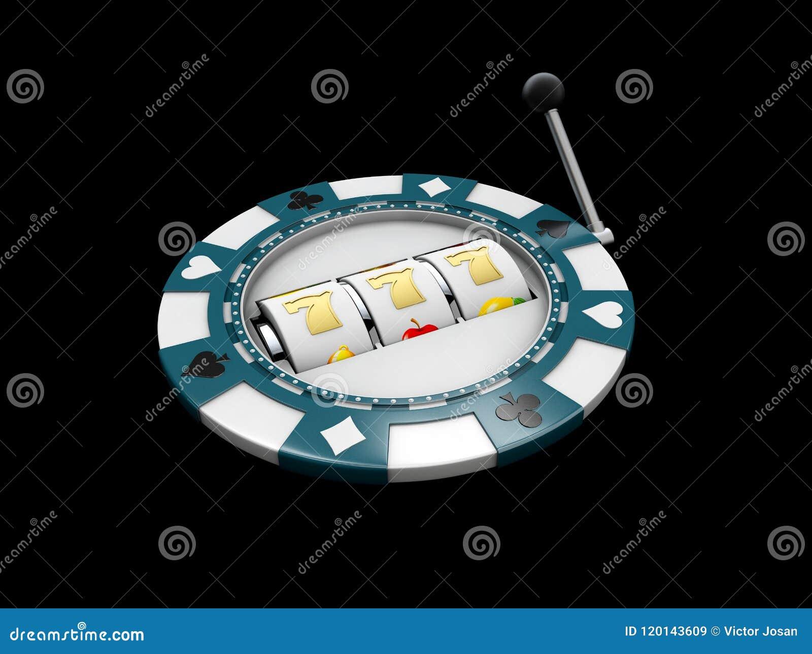 Μηχάνημα τυχερών παιχνιδιών με κέρματα με το τυχερό τζακ ποτ sevens στο τσιπ χαρτοπαικτικών λεσχών η τρισδιάστατη απεικόνιση απομ