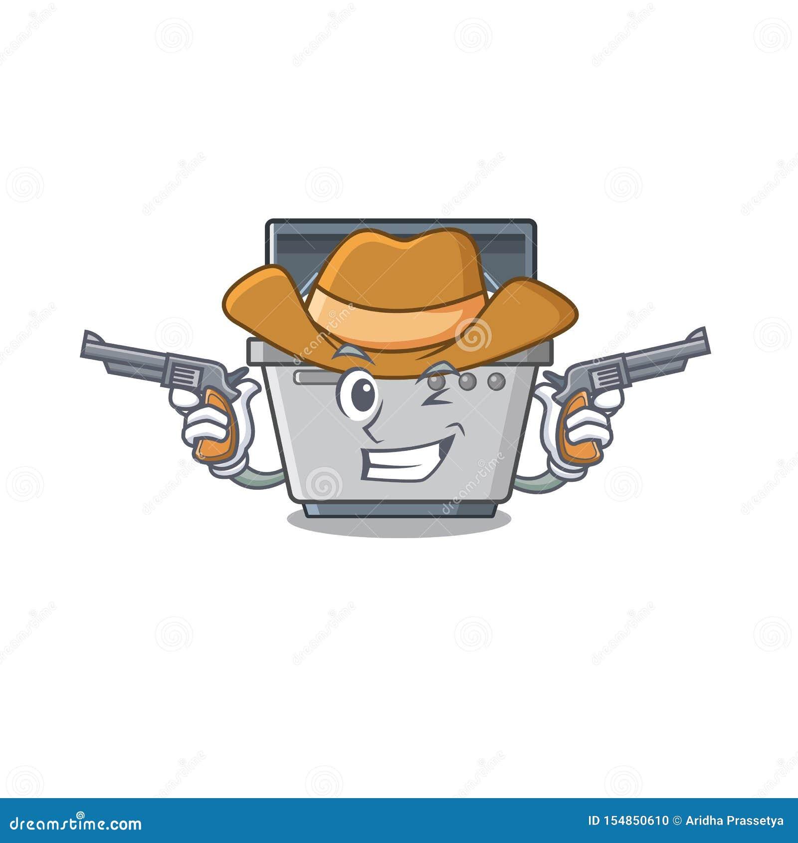 Μηχανή πλυντηρίων πιάτων μασκότ κάουμποϋ στην κουζίνα