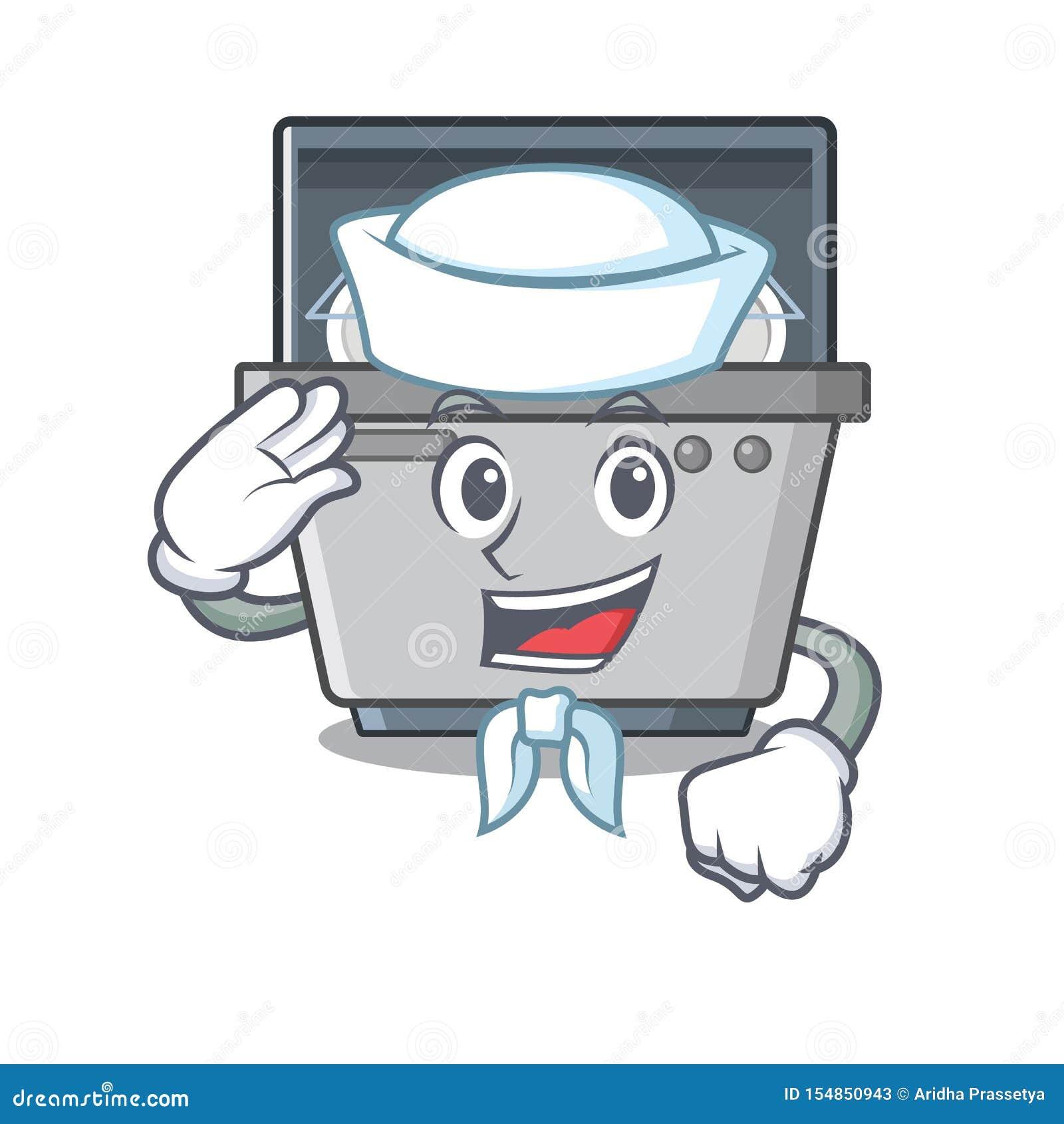 Μηχανή πλυντηρίων πιάτων μασκότ ναυτικών στην κουζίνα